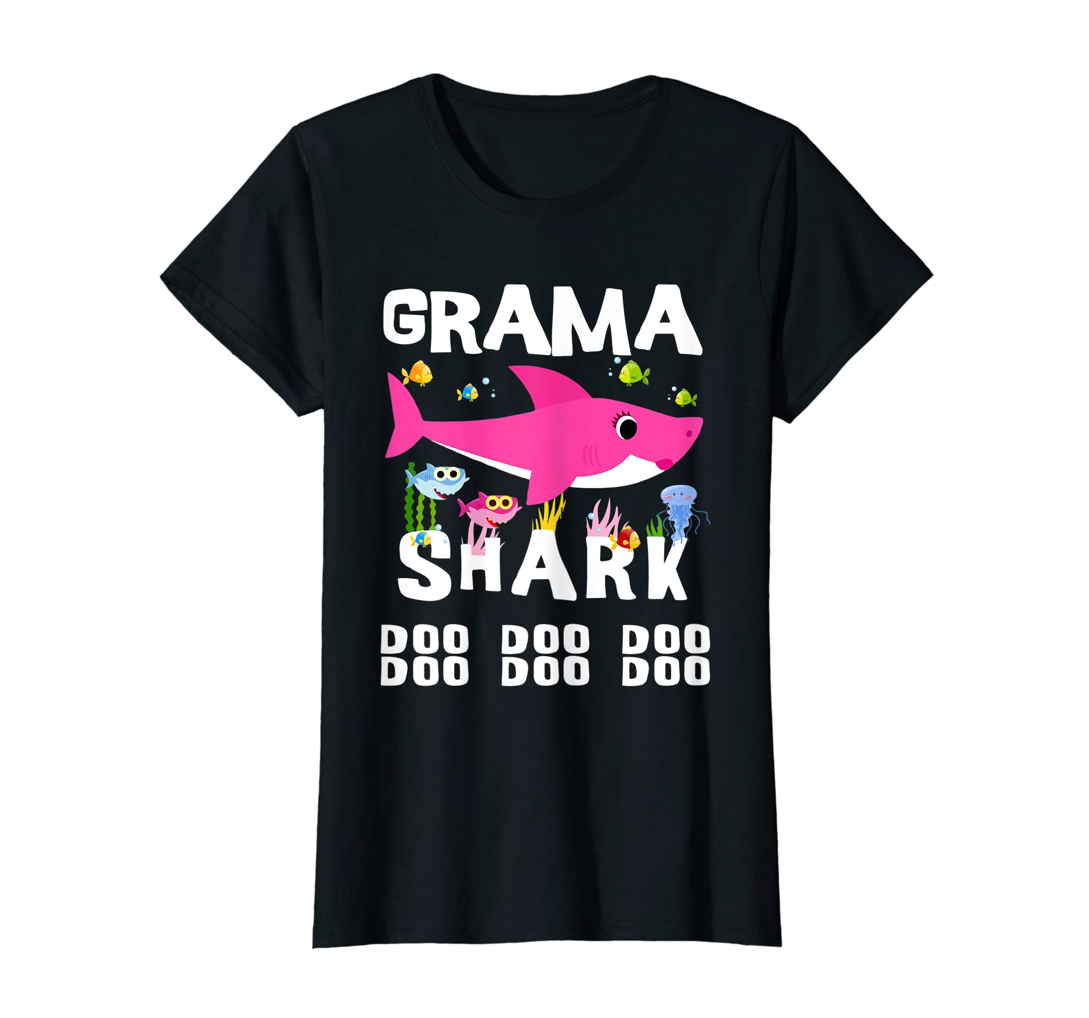 Womens Grama Shark T Shirt, Doo Doo Doo - Mothers Day Gift-Women's T-Shirt-Black