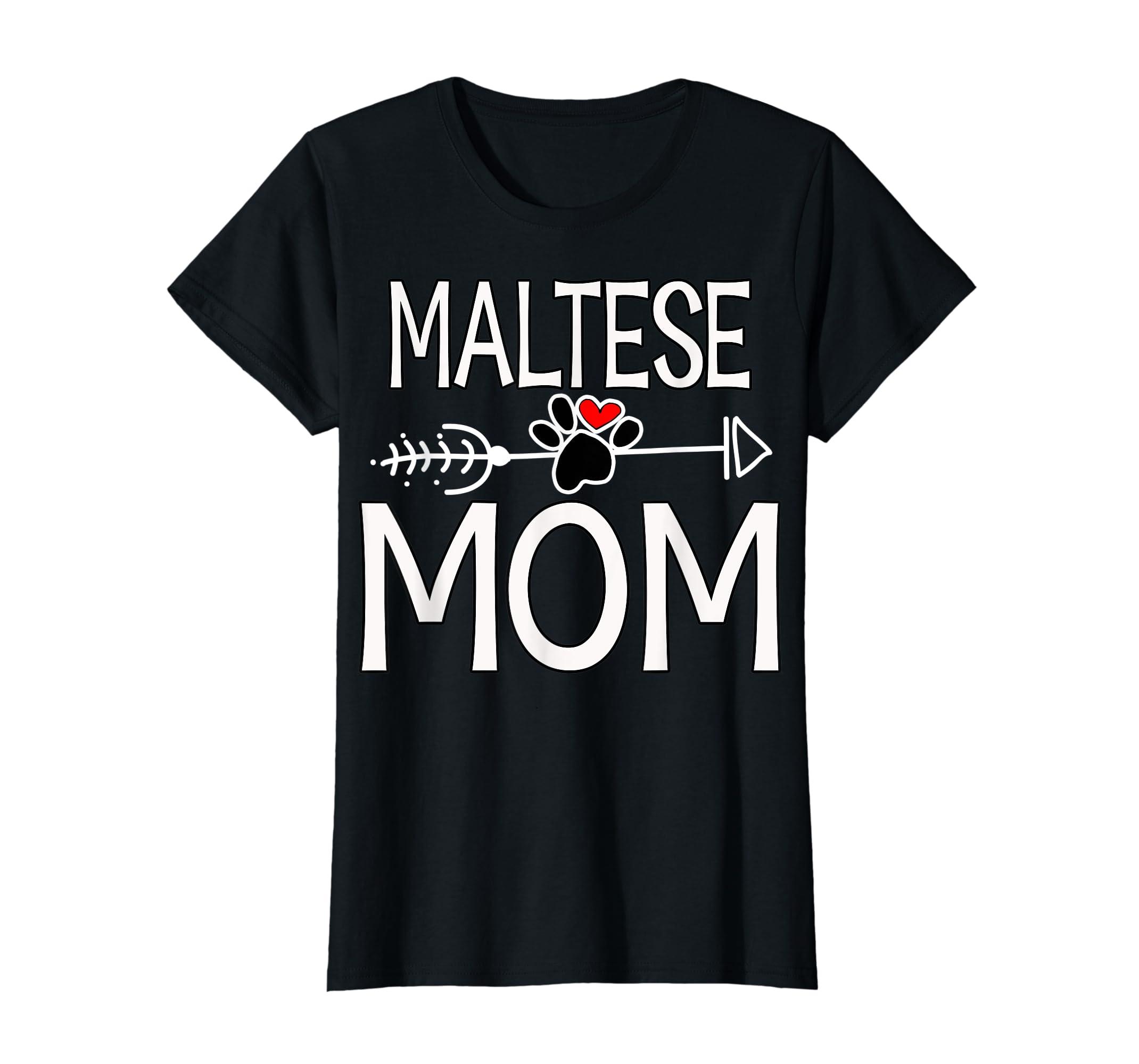 Maltese Mom T-Shirt Dog Lover Mother's Day Gifts-Women's T-Shirt-Black