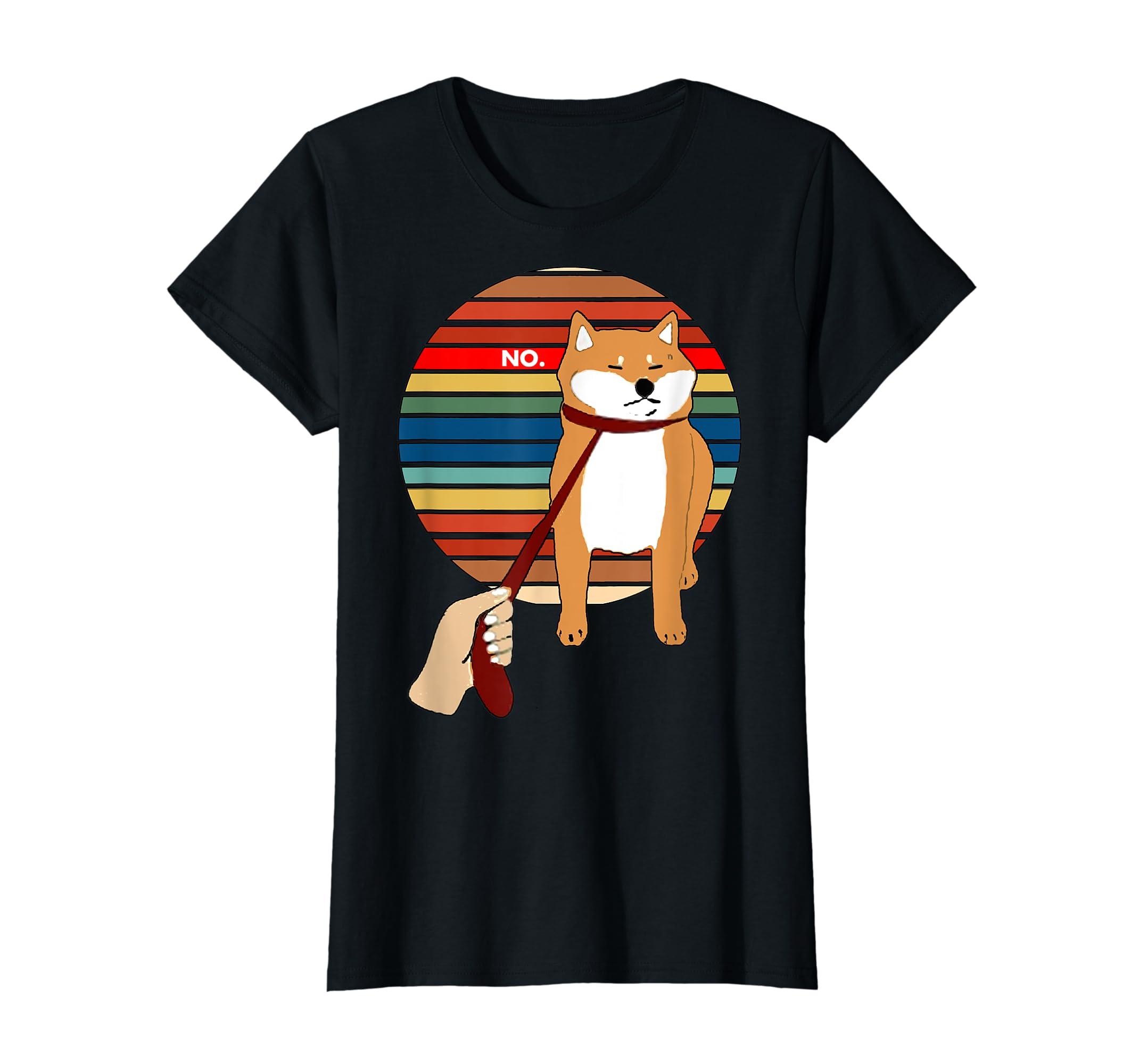 Cute Vintage Retro Shiba Inu Nope Dog Tee Shirt-Women's T-Shirt-Black