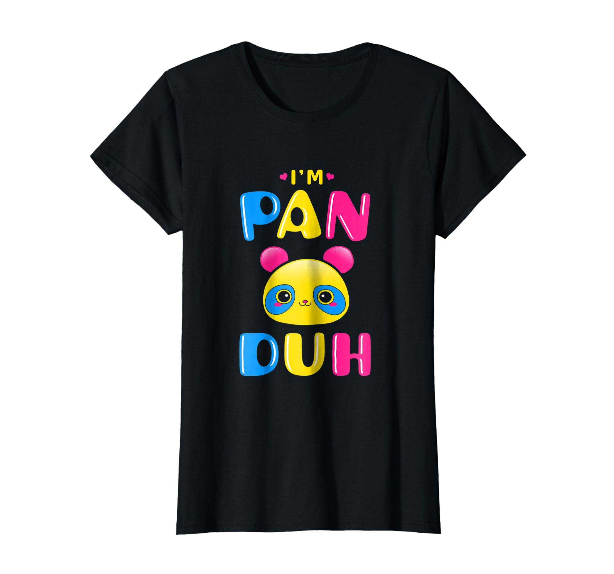 a3eb6e8a286df9 Amazon.com  Pansexual Shirt Funny Gay Pride LGBT I m Pan Duh Panda  Clothing