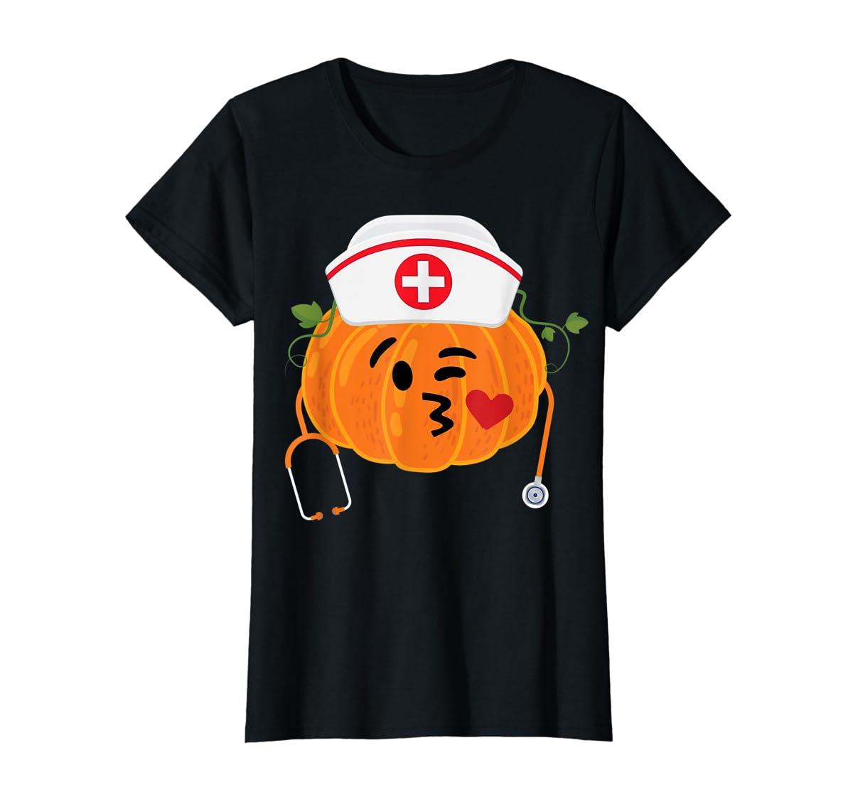Nurse Stethoscope Pumpkin Funny Nursing Halloween Gift T-Shirt-Women's T-Shirt-Black