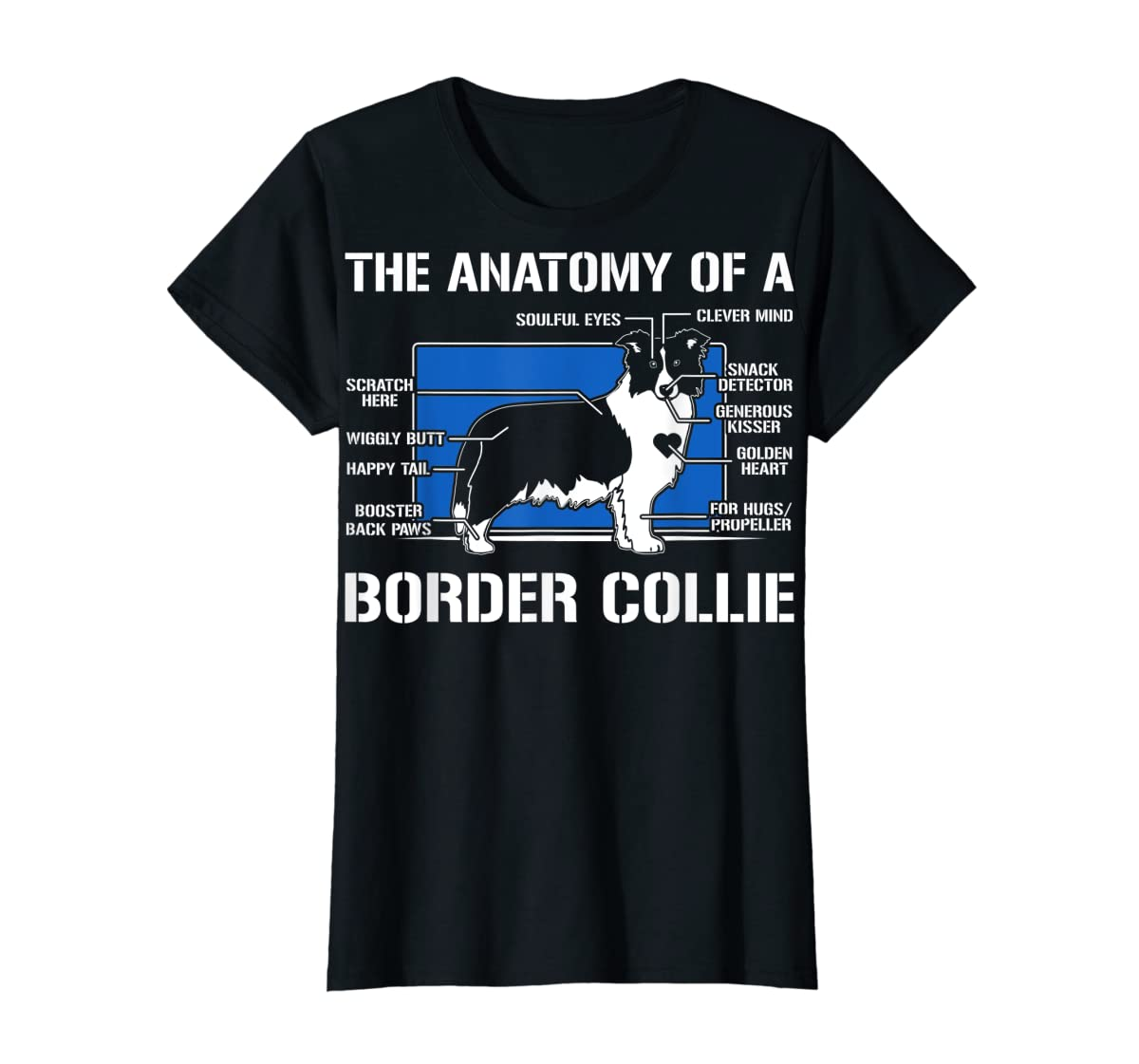 The Anatomy Of A Border Collie T shirt-Women's T-Shirt-Black