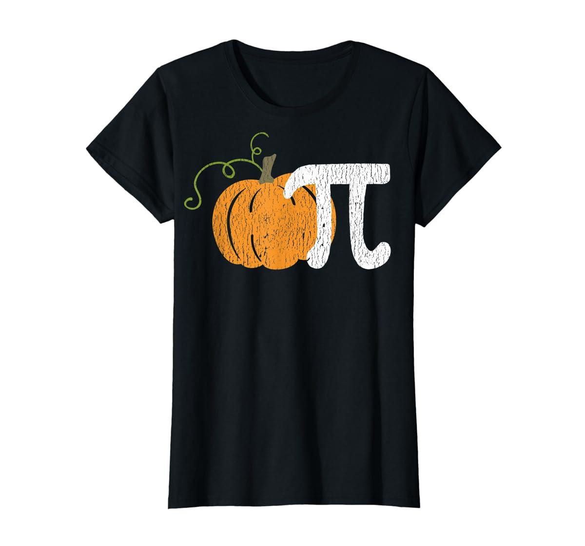 Funny Pumpkin Pie Math Teacher Halloween Pi Humor T-Shirt-Women's T-Shirt-Black