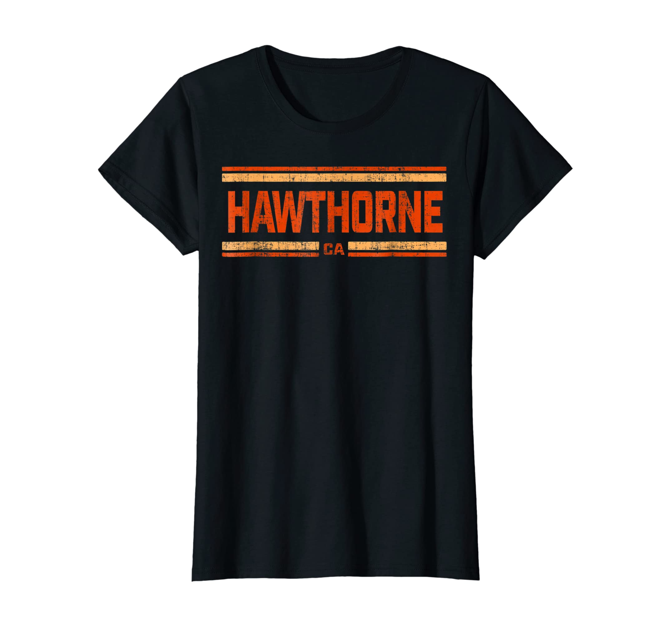 Retro Vintage Hawthorne CA Distressed T-Shirt-Women's T-Shirt-Black