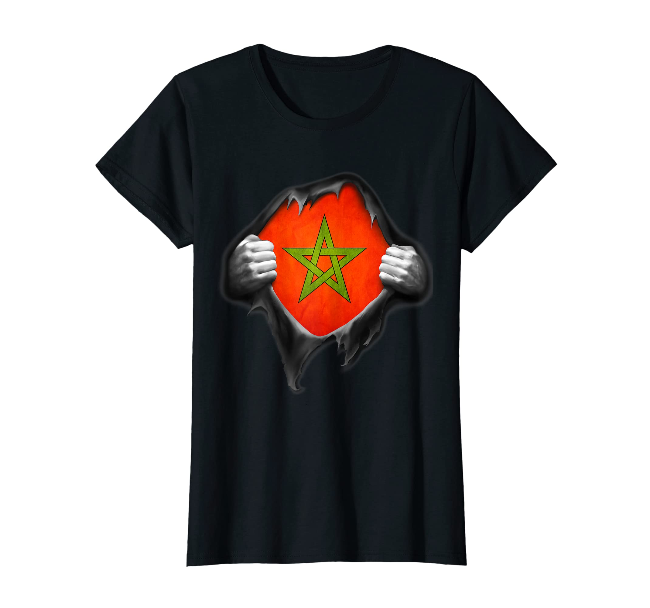 5384f68195d Amazon.com: Morocco National Flag T Shirt. Proud Moroccan Soccer Fan:  Clothing