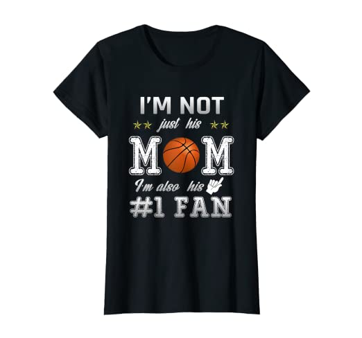 ed3ba2cc0e Image Unavailable. Image not available for. Color: Womens Number One Fan  Basketball Mom Shirt-Funny Basketball Mom