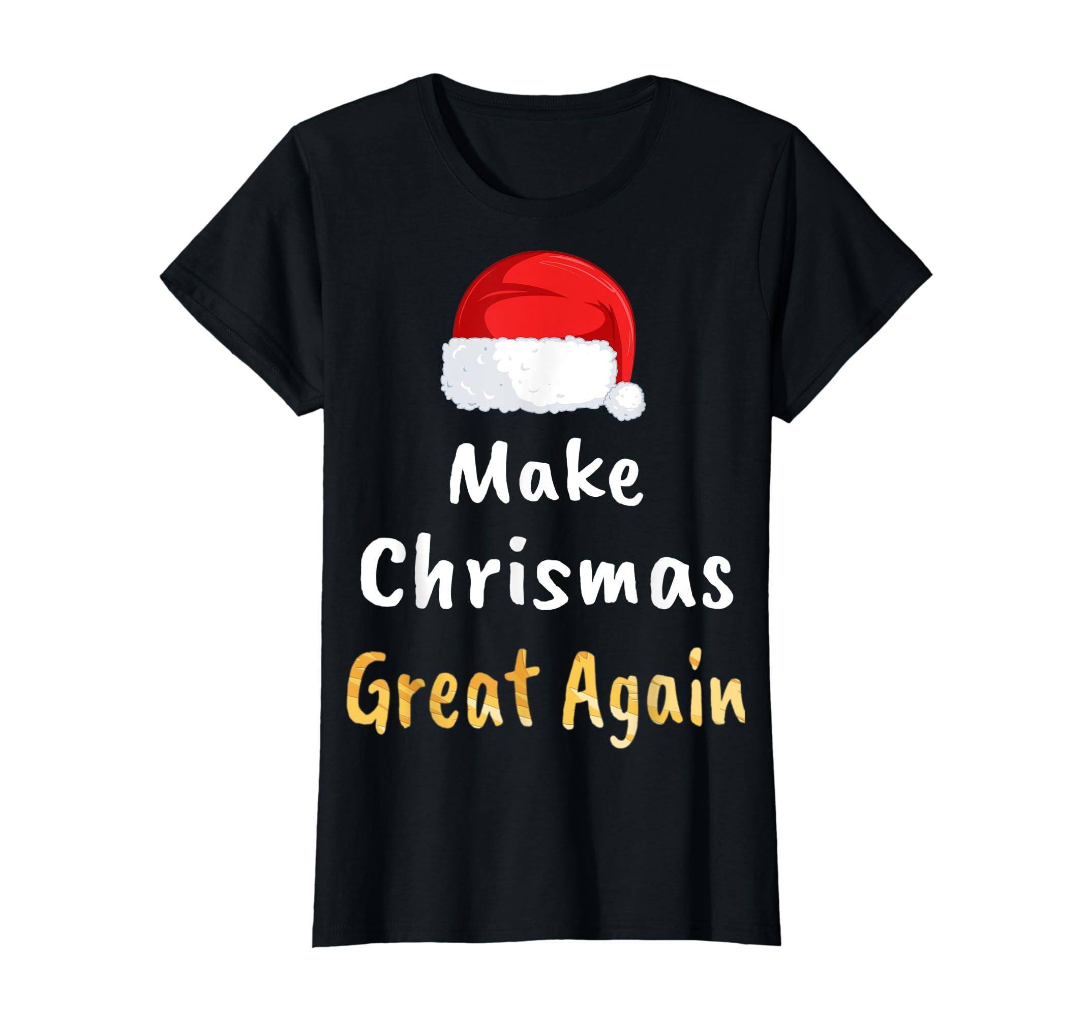 Awesome Make Christmas Great Again Trump Hat Xmas Gift T-Shirt-Women's T-Shirt-Black