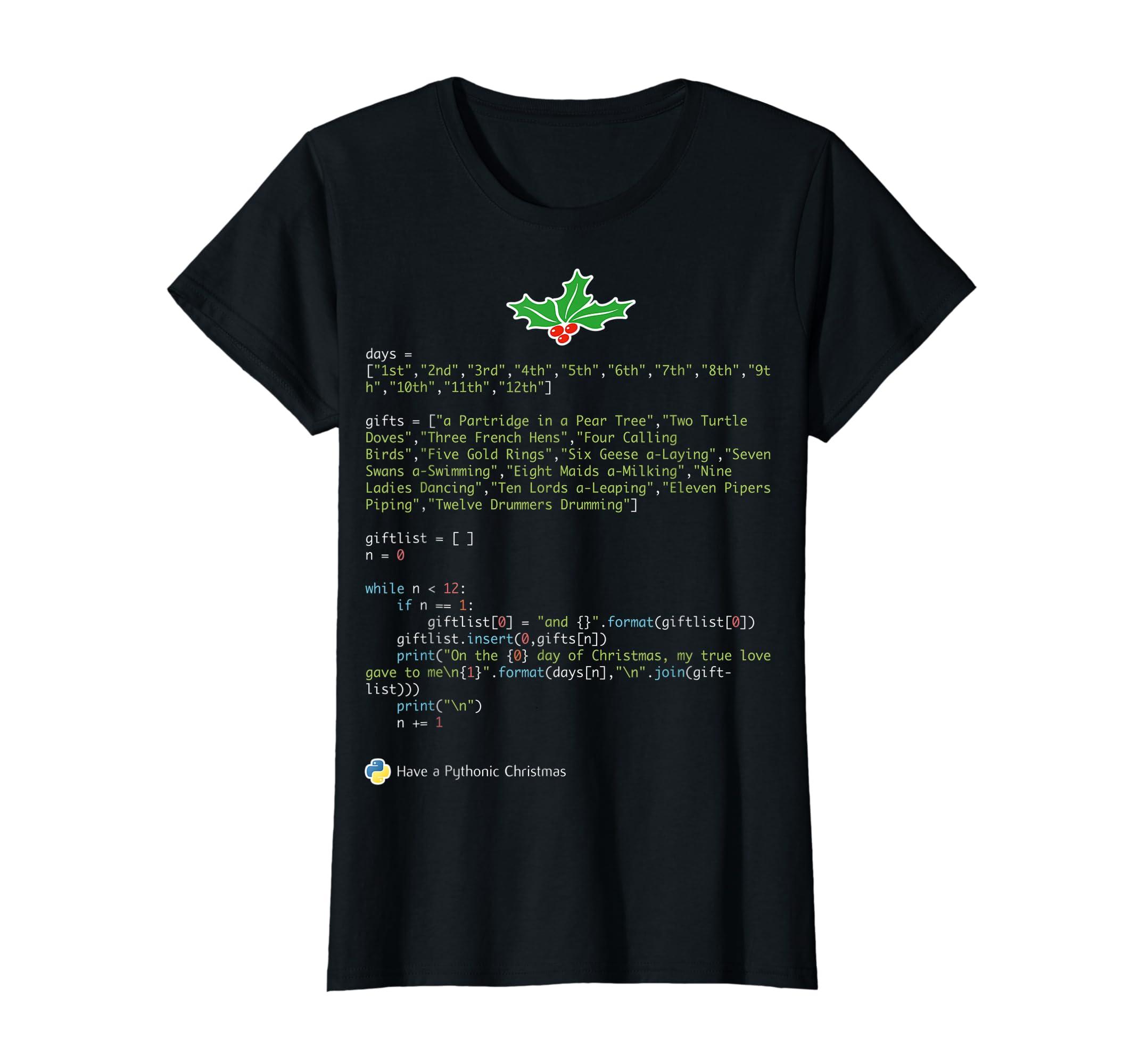 Geek Christmas Xmas - 12 Days of Python T-Shirt-Women's T-Shirt-Black