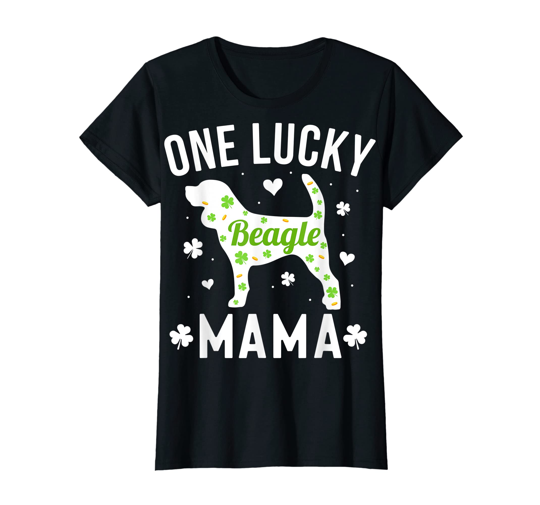 St Patricks Day Beagle Shirt Lucky Mama Mom Dog Gift Tee-Women's T-Shirt-Black