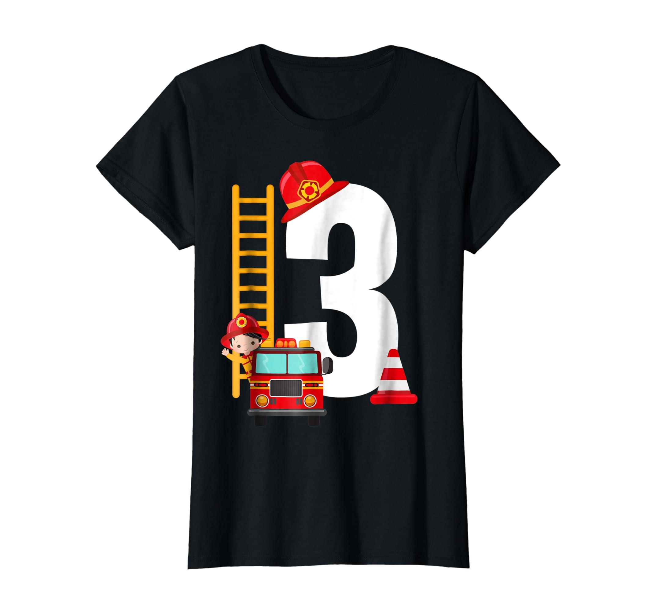 Kids 3rd Birthday Party Fire Truck Toddler T Shirt-Women's T-Shirt-Black