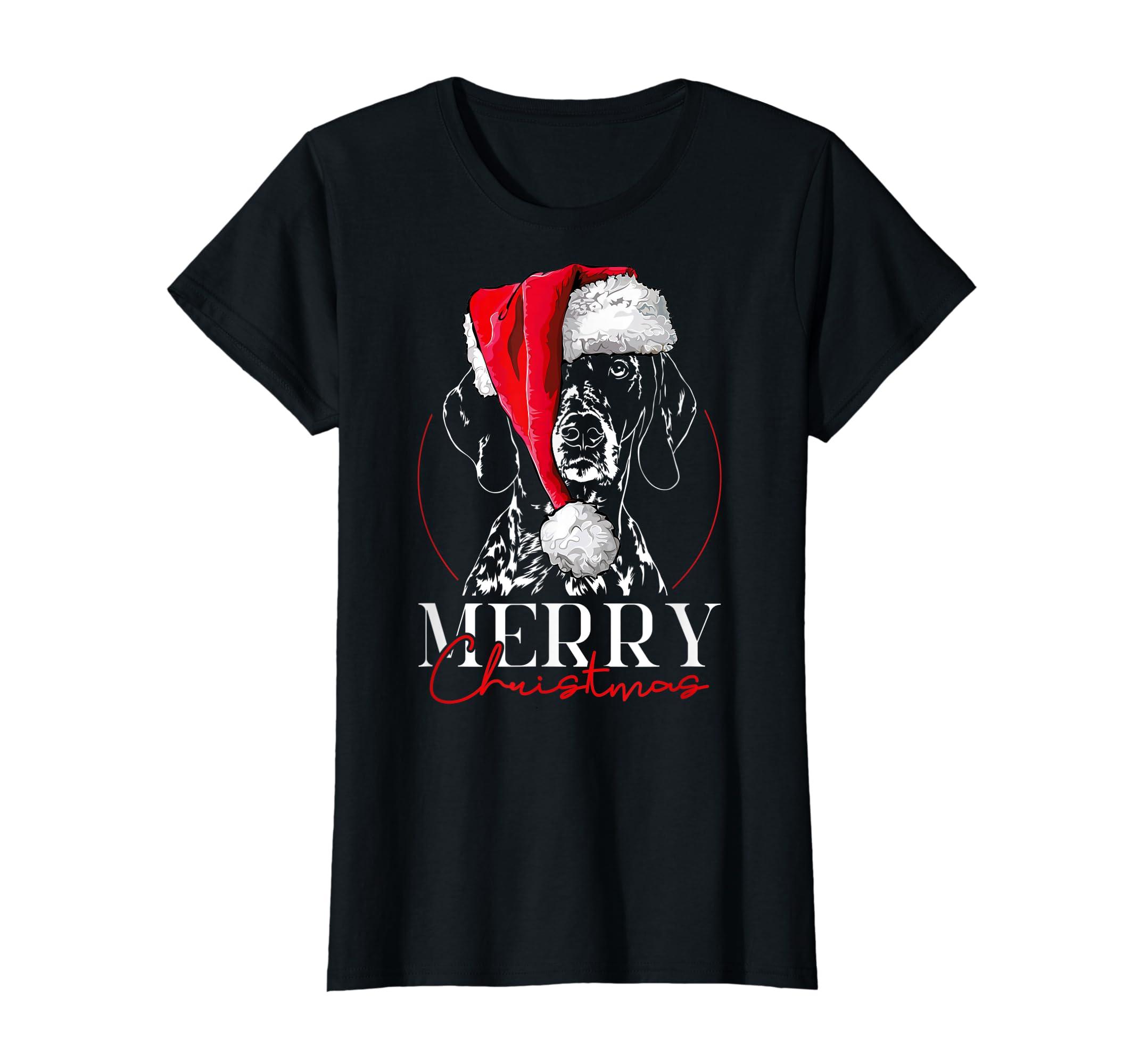 Funny Santa German Shorthaired Pointer Merry Christmas dog T-Shirt-Women's T-Shirt-Black
