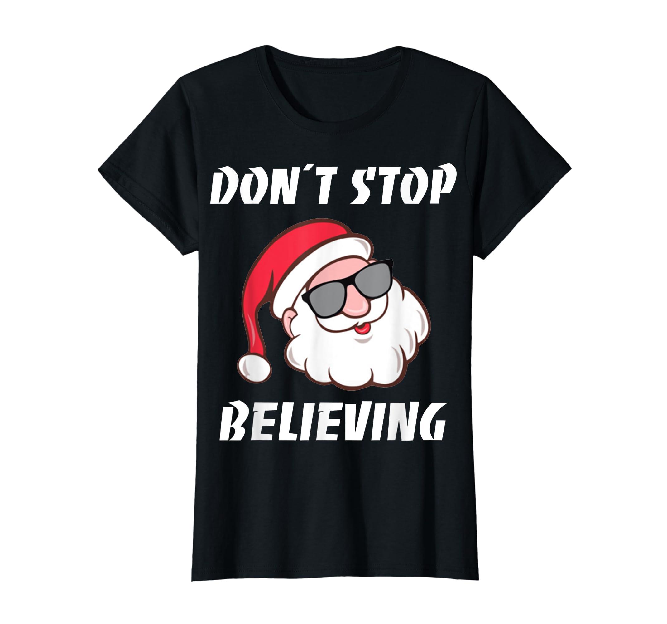 Don't Stop Believing Santa Claus Christmas T-Shirt-Women's T-Shirt-Black