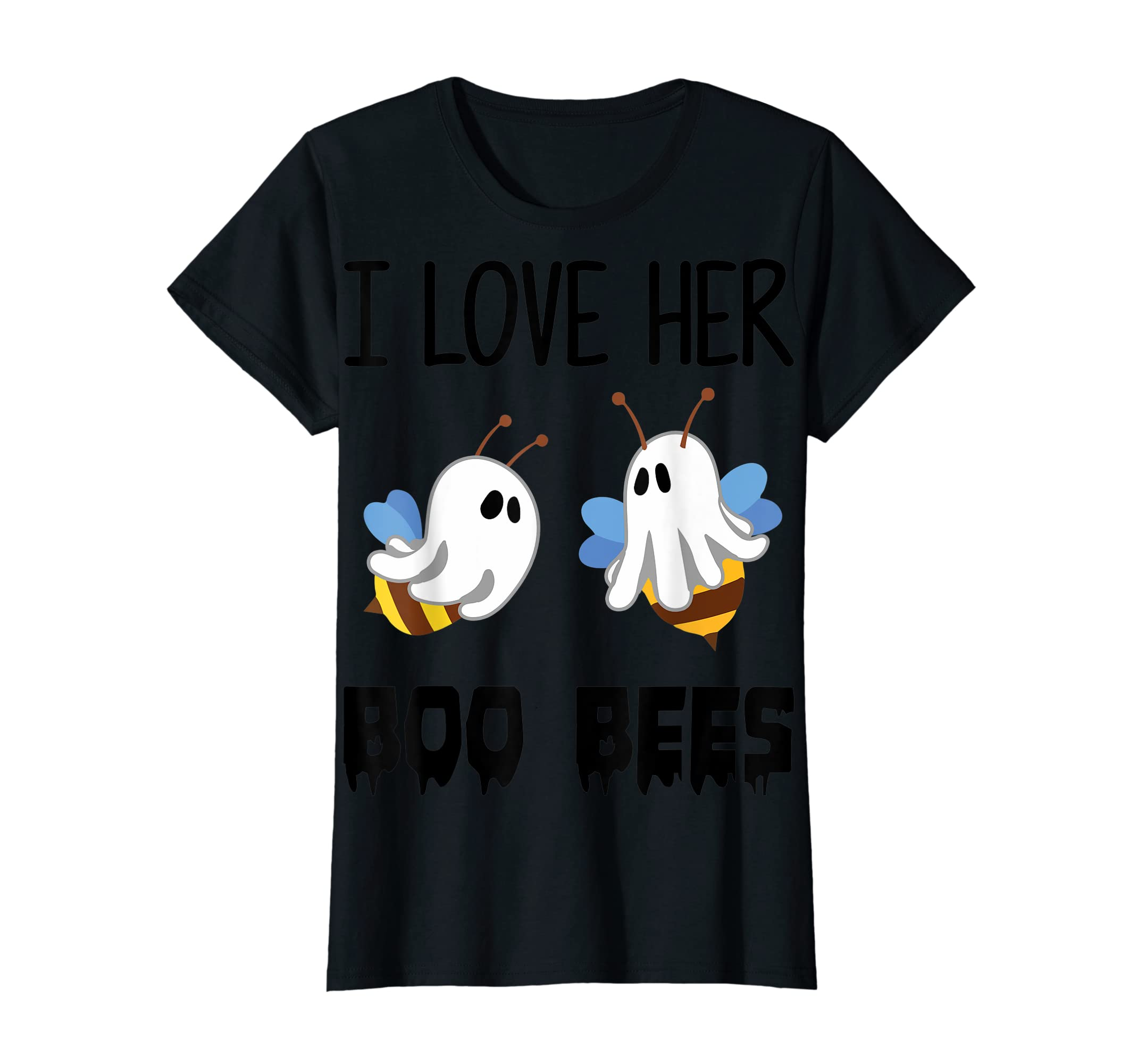 I Love Her Boo Bees Couples Funny Halloween Costume Gift T-Shirt-Women's T-Shirt-Black
