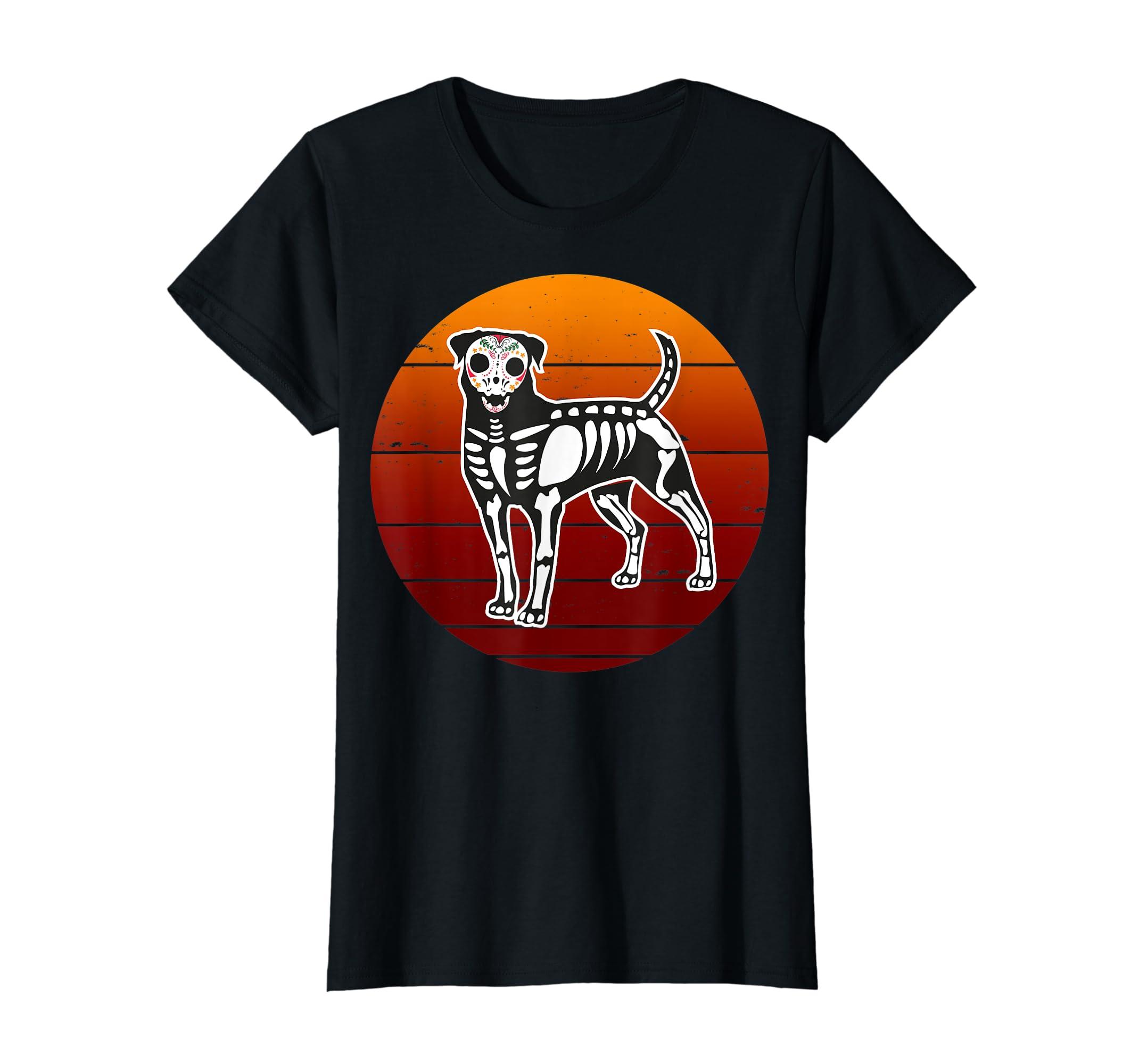 Rottweiler Skeleton Halloween T-Shirt-Women's T-Shirt-Black