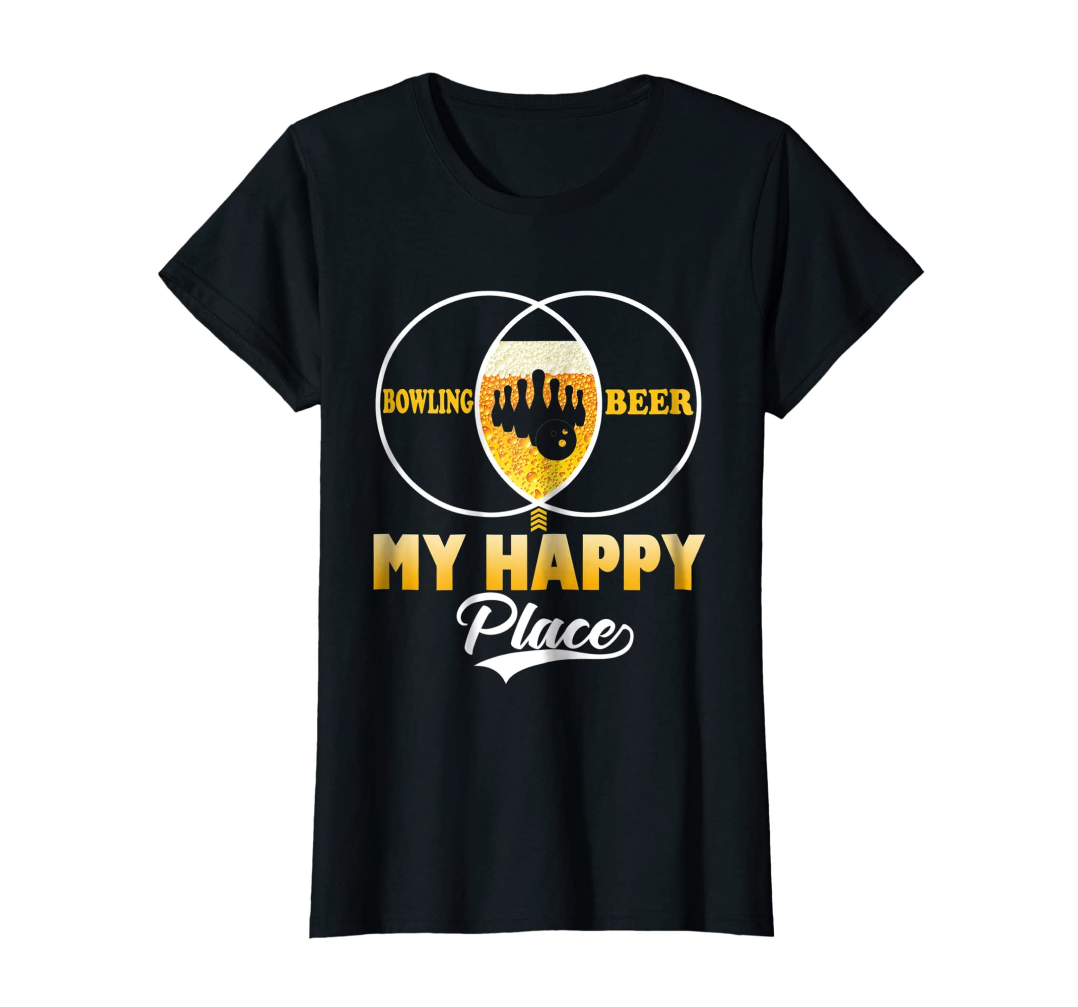 Bowling Beer My Happy Place Funny T Shirt Perfect Gift Tee