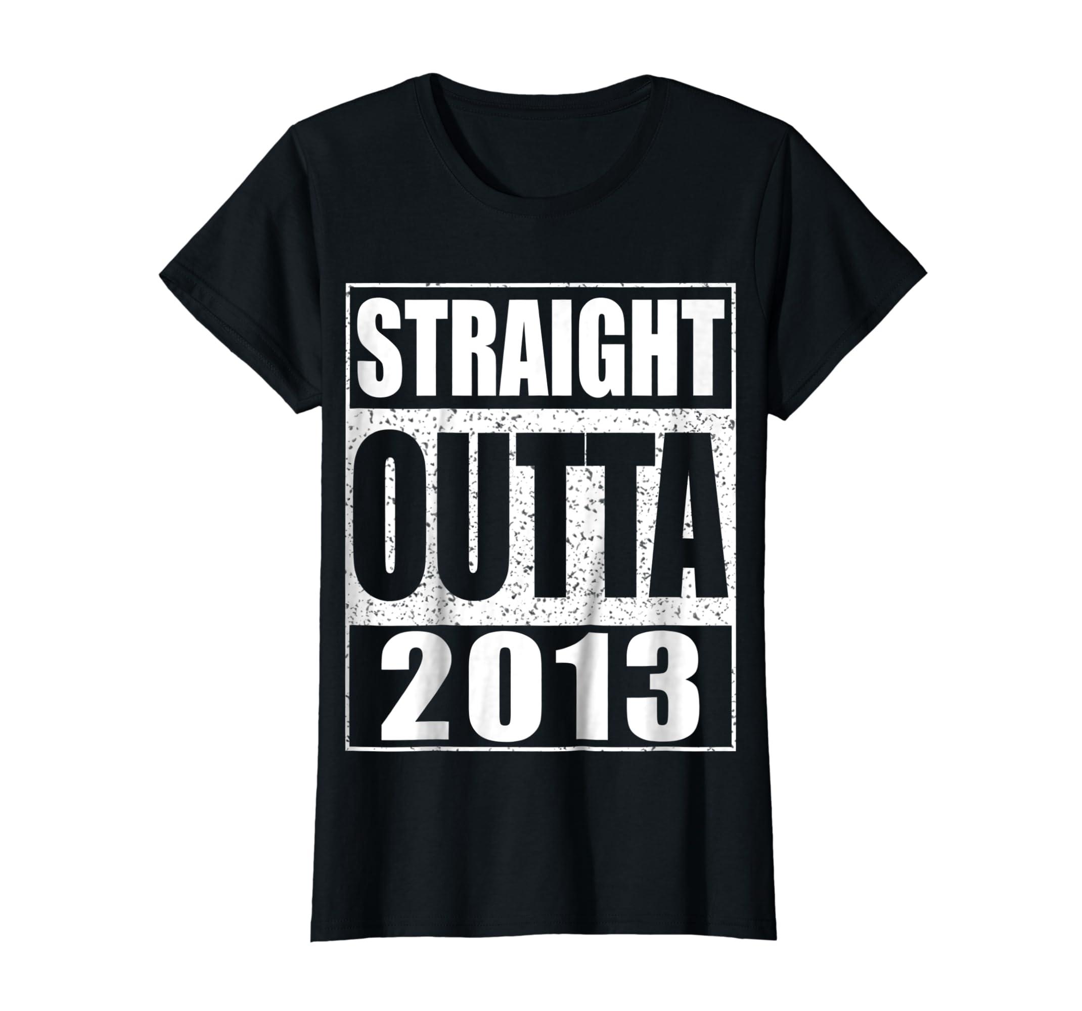 Kids Straight Outta 2013 T-Shirt 6th Birthday Gift Shirt-Women's T-Shirt-Black