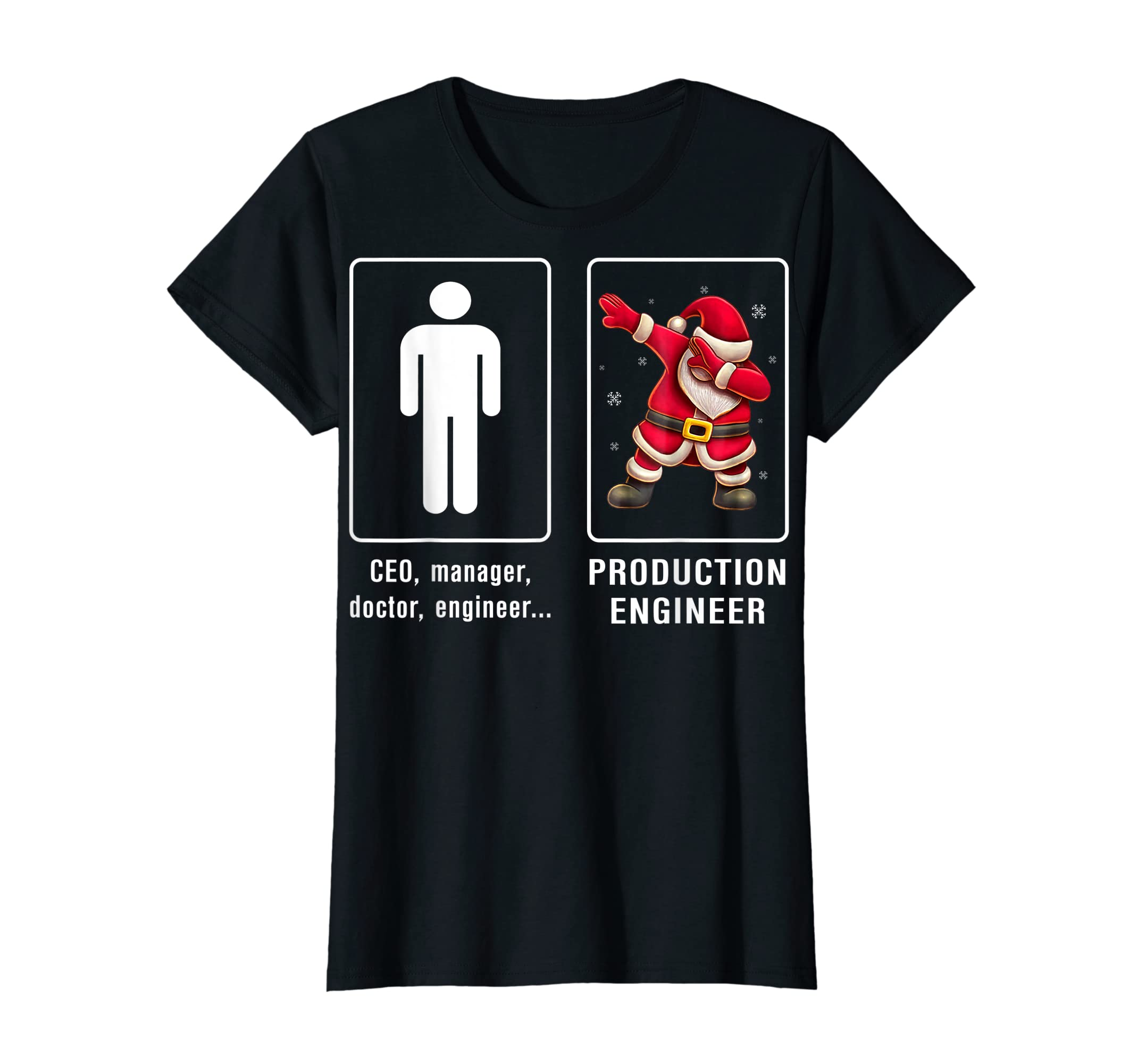 PRODUCTION ENGINEER Santa Dab T-shirt Funny Christmas T-Shirt-Women's T-Shirt-Black
