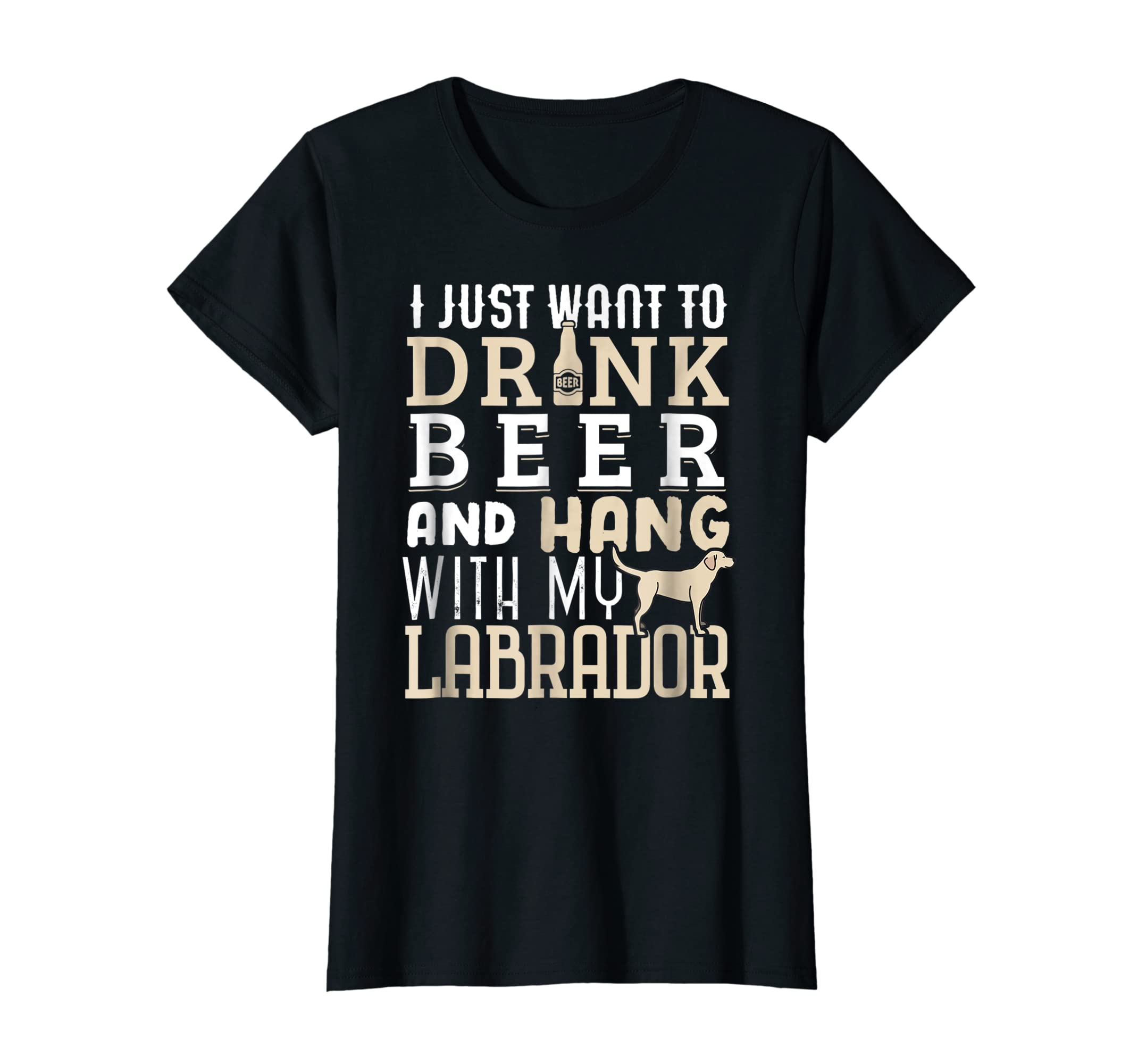 Labrador Dad Shirt Funny Father's Day Lab Retriever Dog Beer-Women's T-Shirt-Black