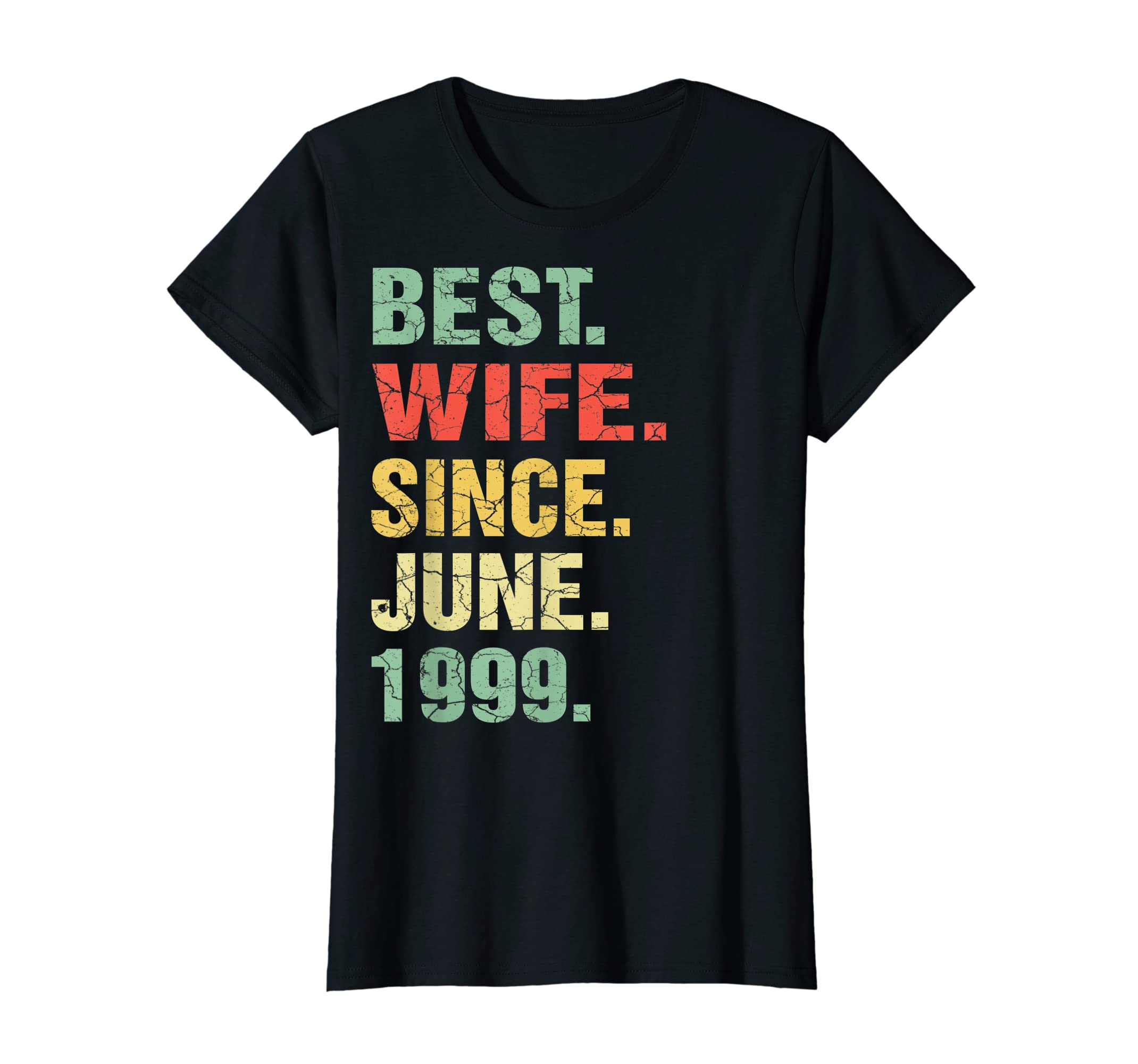 20th Wedding Anniversary Gifts Best Wife Since June 1999-Women's T-Shirt-Black