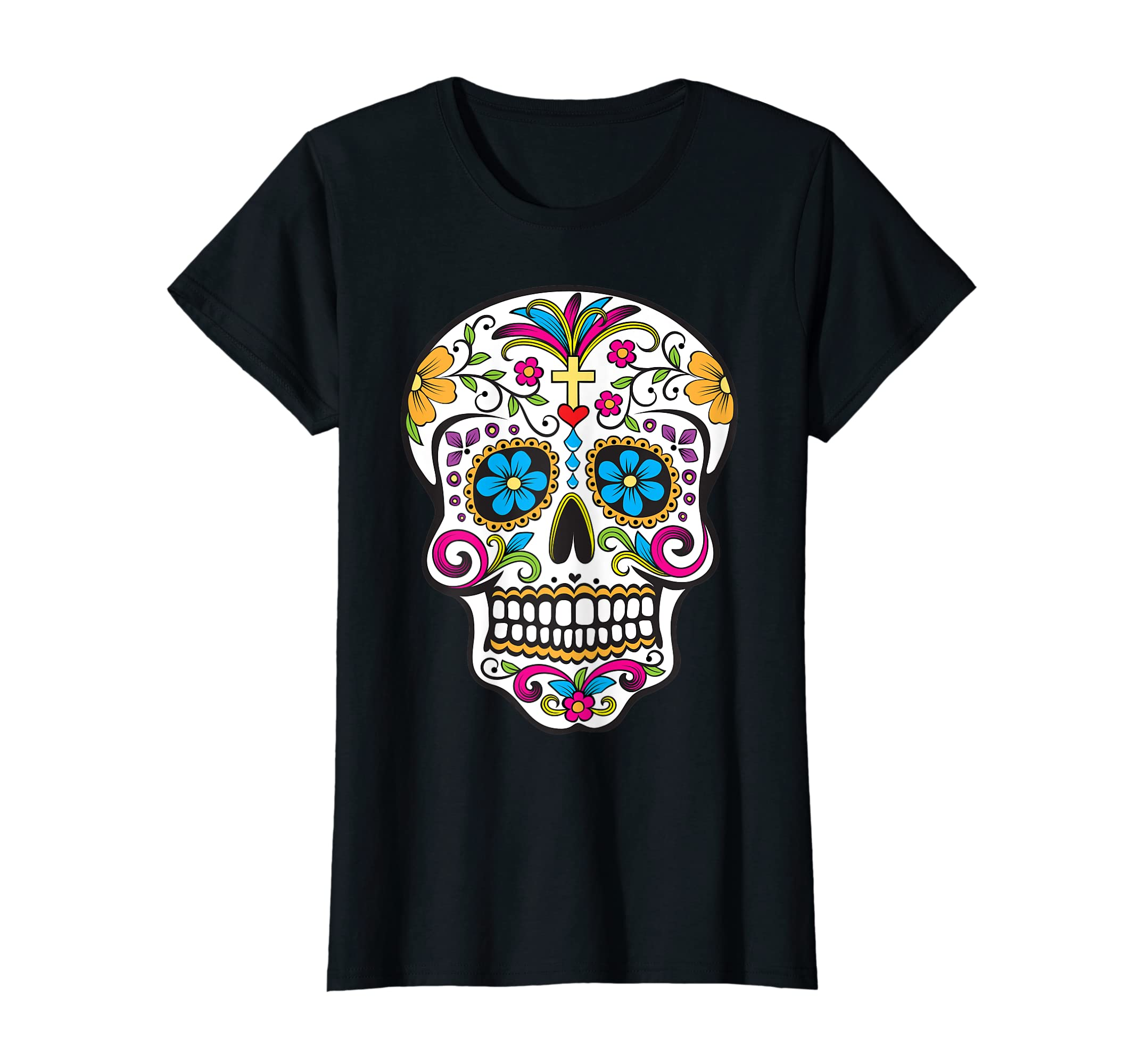 c84a413b19d Amazon.com  Day of the Dead Sugar Skull T-Shirt  Clothing