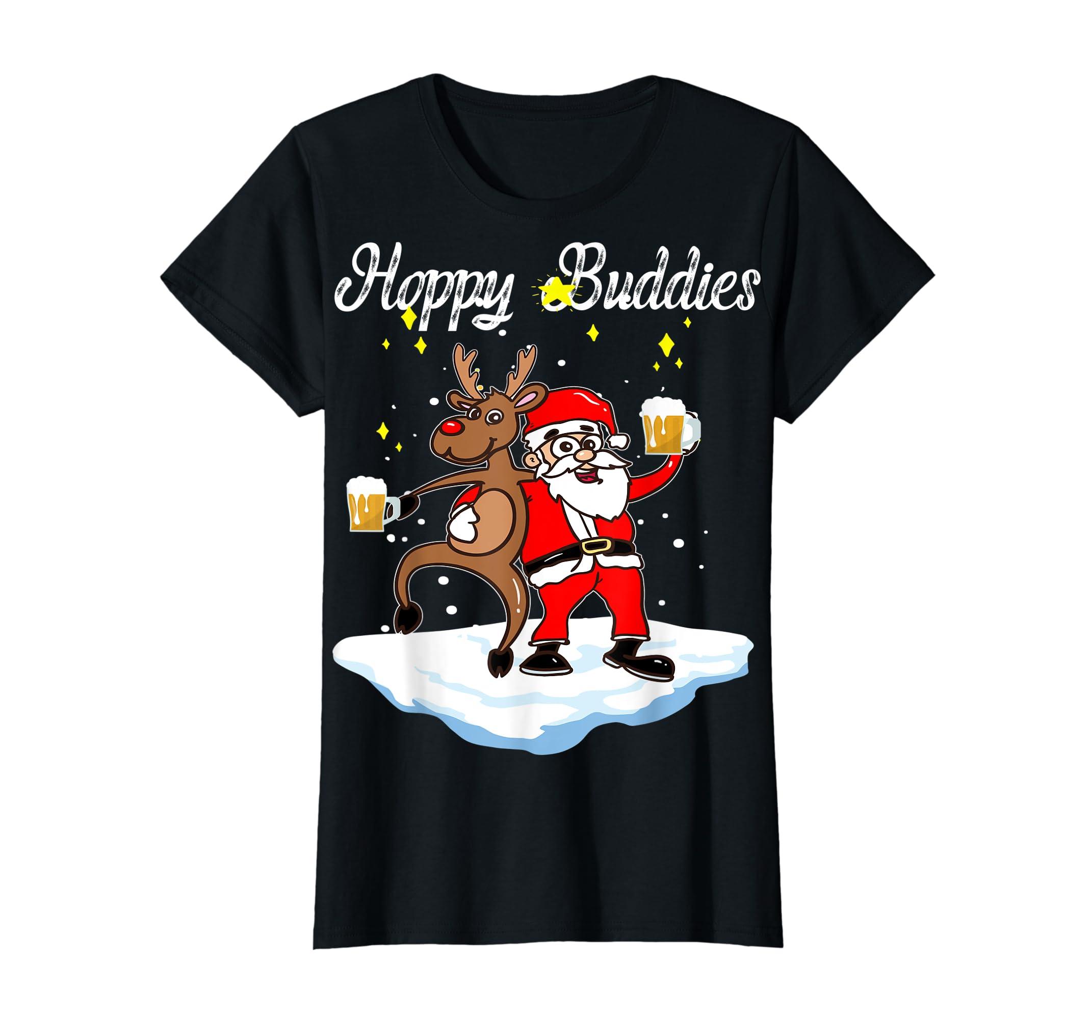 Santa Dancing Reindeer Beer Drinking T-Shirt Christmas Party T-Shirt-Women's T-Shirt-Black