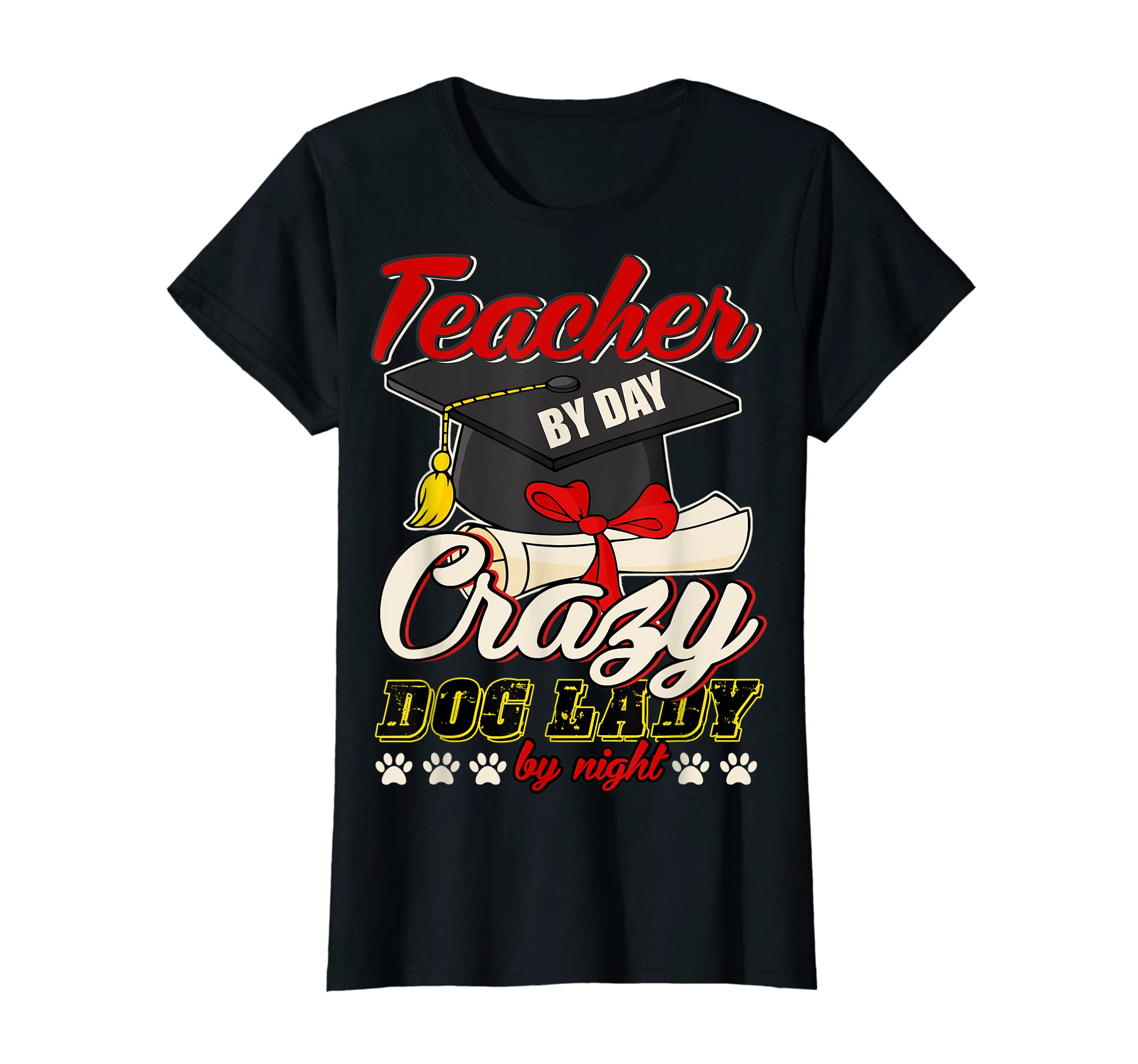 Teacher By Day T Shirt, Crazy Dog Lady By Night T Shirt-Women's T-Shirt-Black
