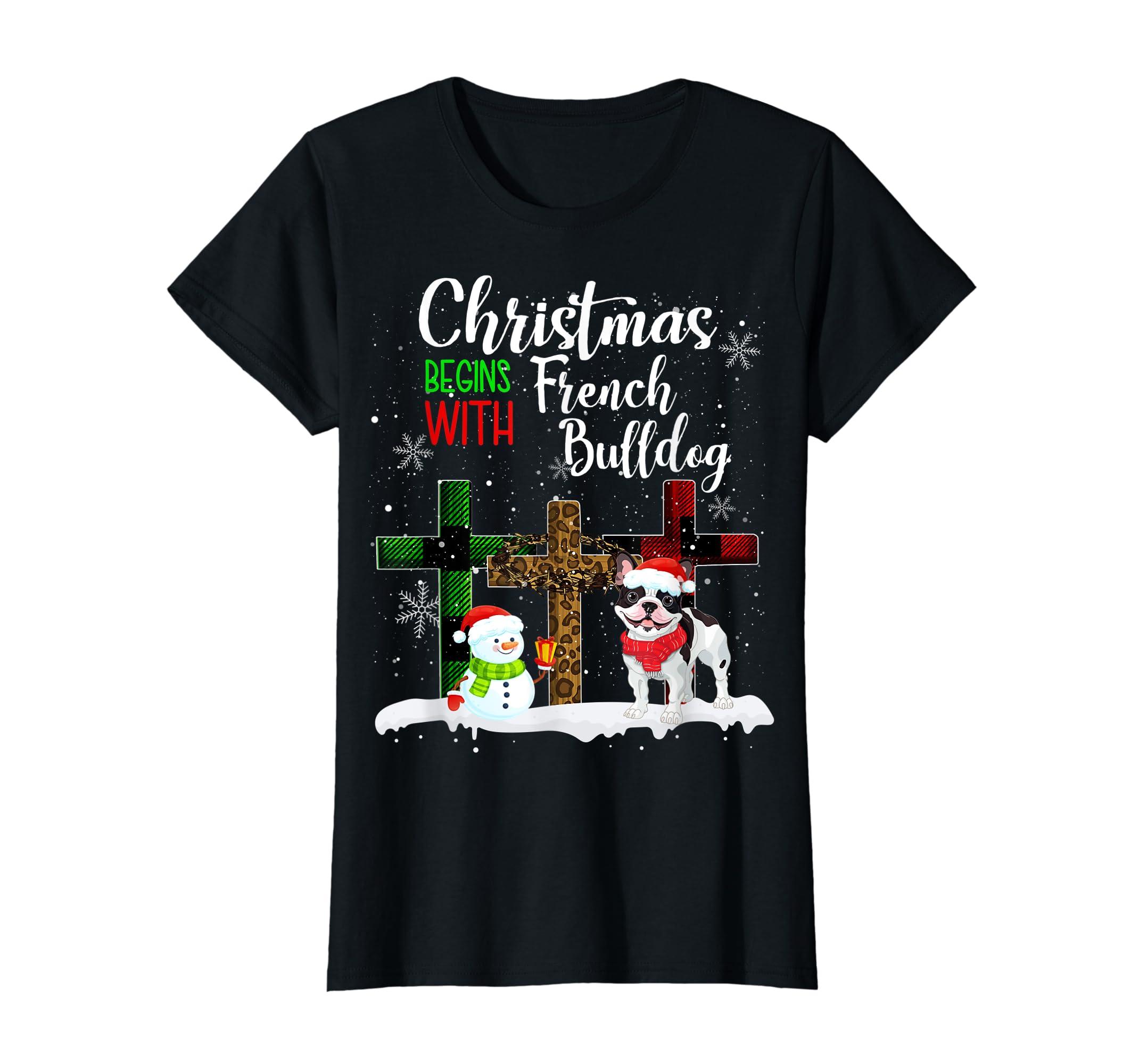 Christmas Begins With French Bulldog Costume Xmas Gifts T-Shirt-Women's T-Shirt-Black