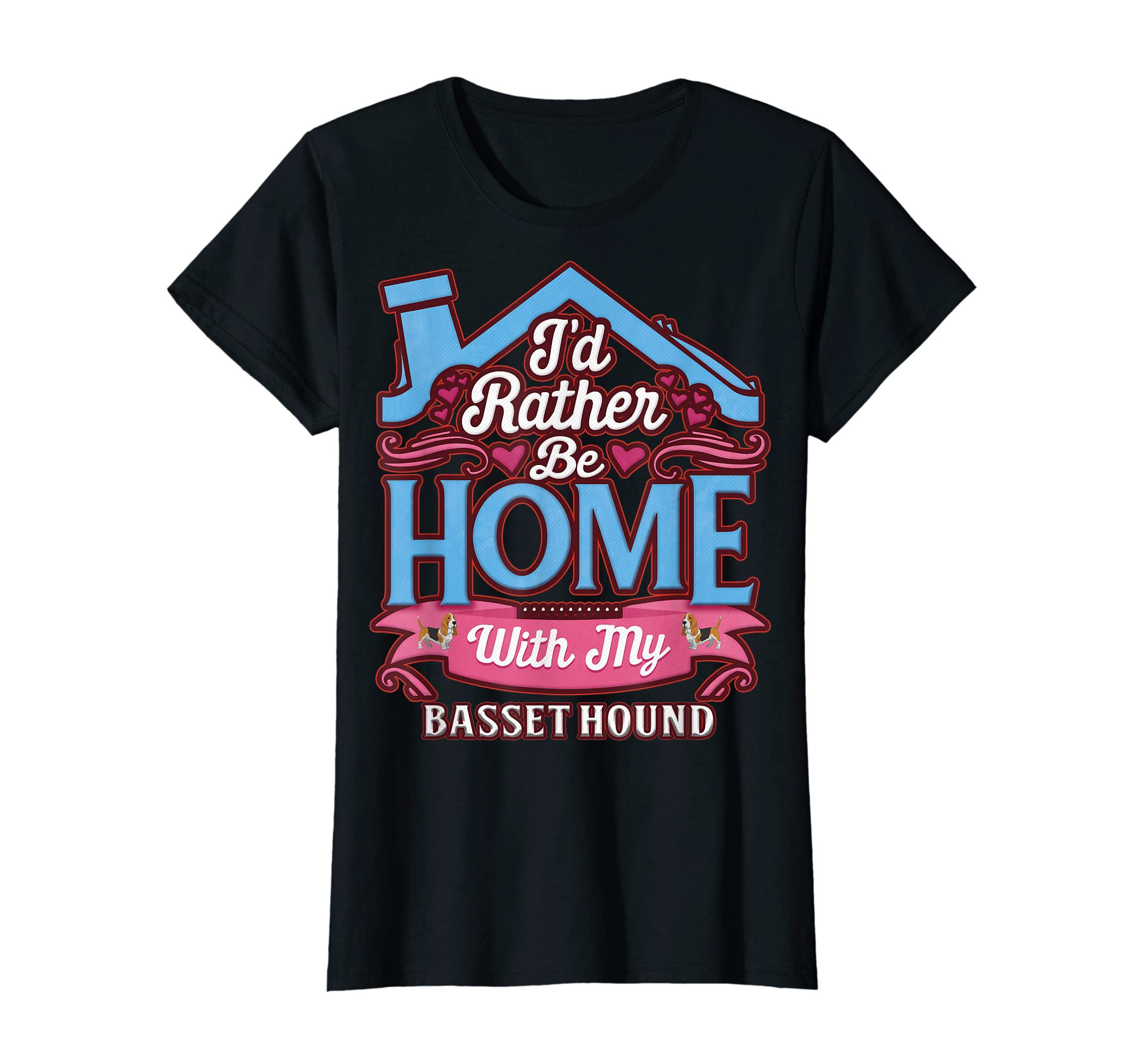 Basset Hound Home Dog T Shirt-Women's T-Shirt-Black