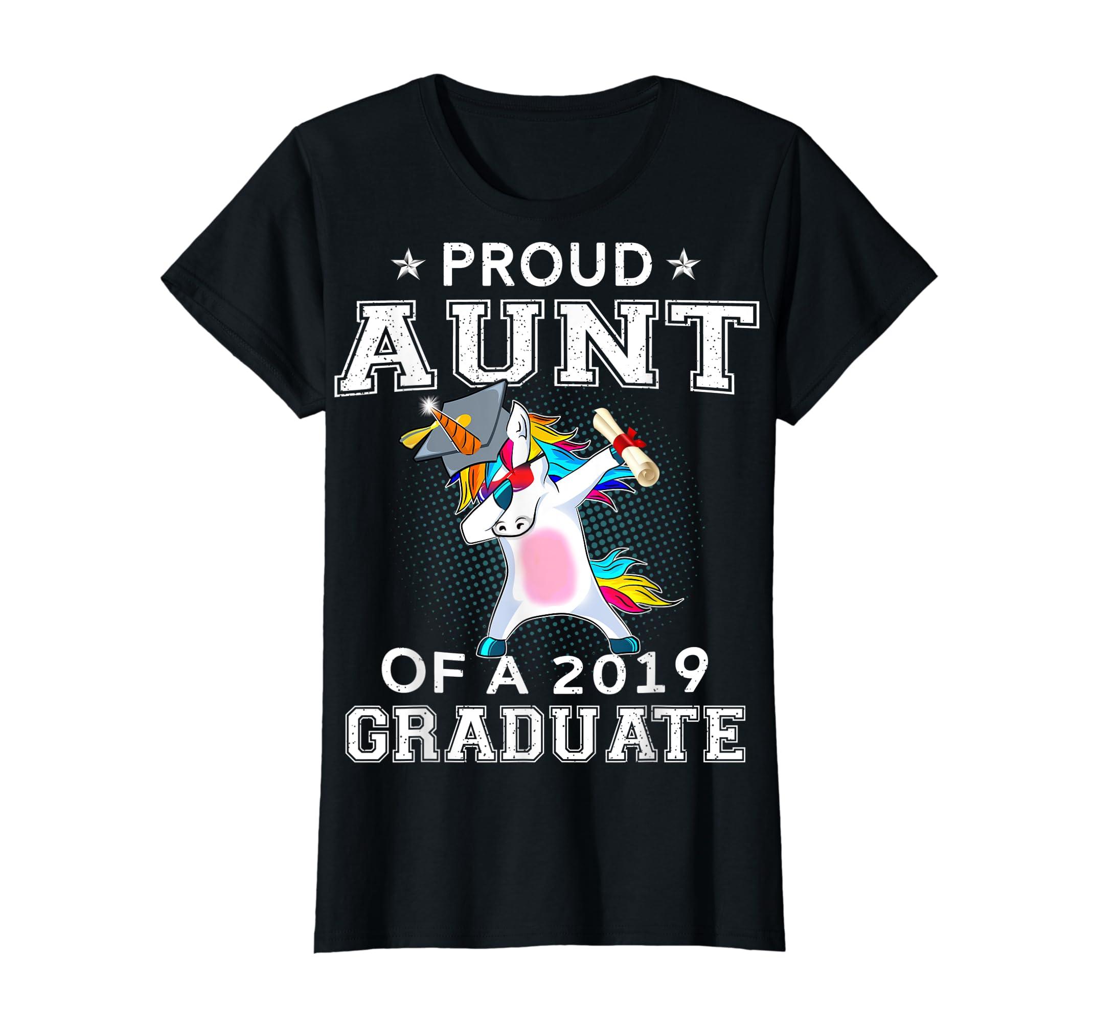 Proud Aunt Of A 2019 Graduate Unicorn Dabbing T-Shirt Gift-Women's T-Shirt-Black