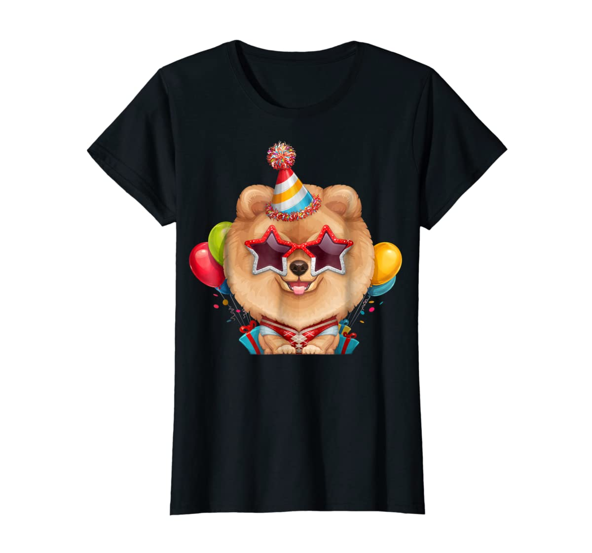 Orange Pomeranian in Glasses Birthday T-Shirt-Women's T-Shirt-Black