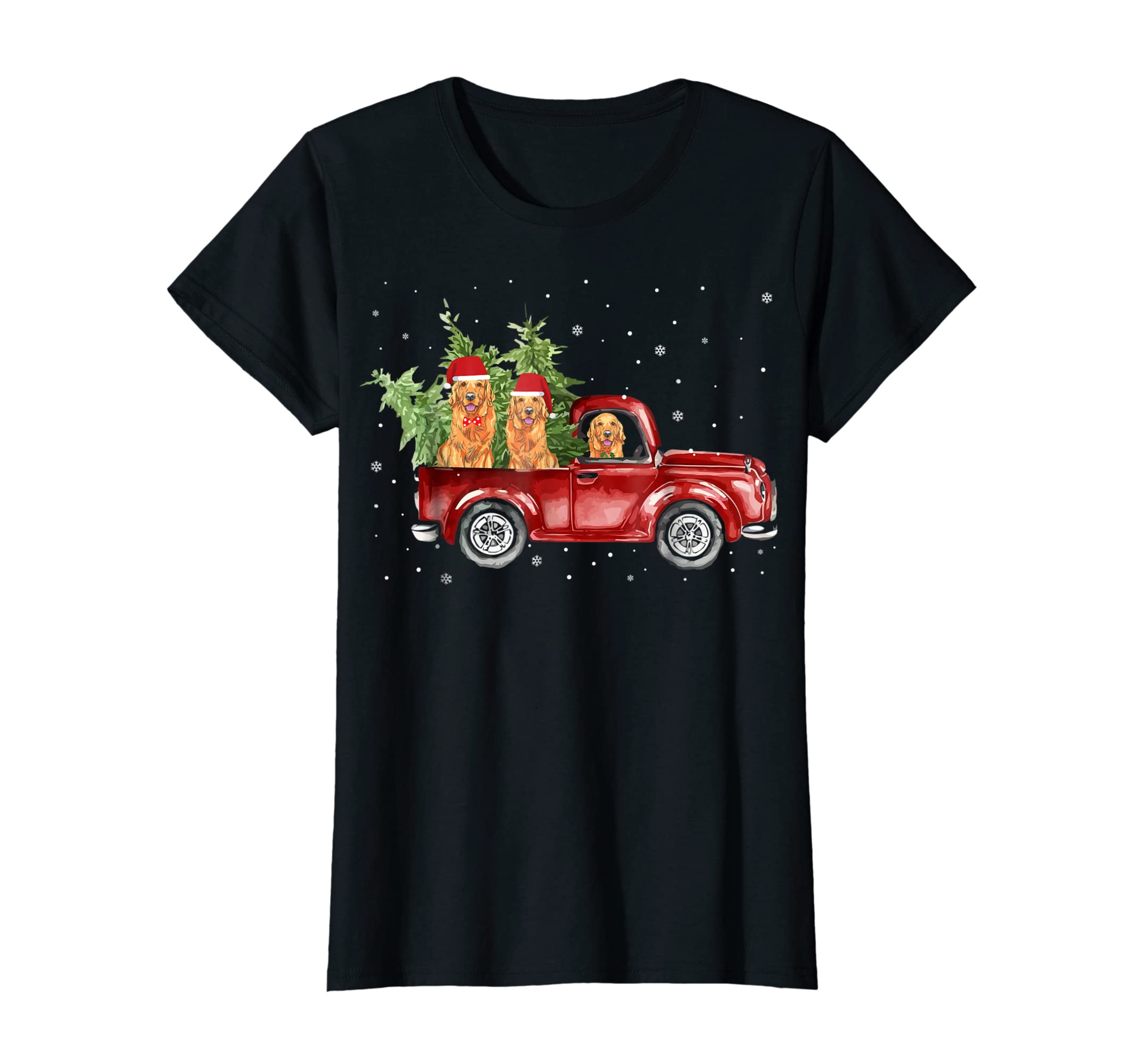 Golden Retriever Pickup Truck Christmas Tshirt-Women's T-Shirt-Black