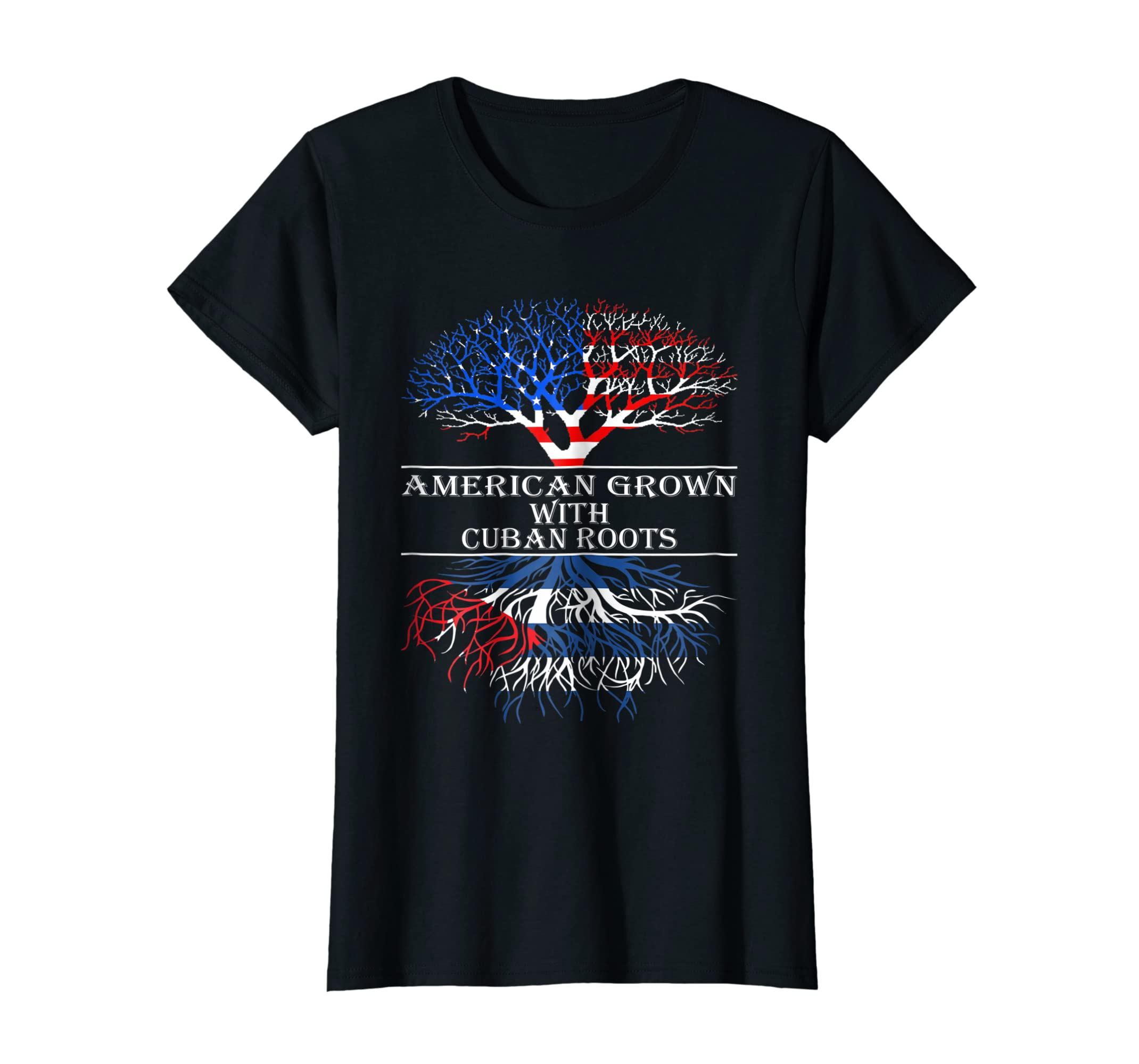 e614a73a Amazon.com: American Grown With Cuban Roots T-Shirt Tshirt: Clothing