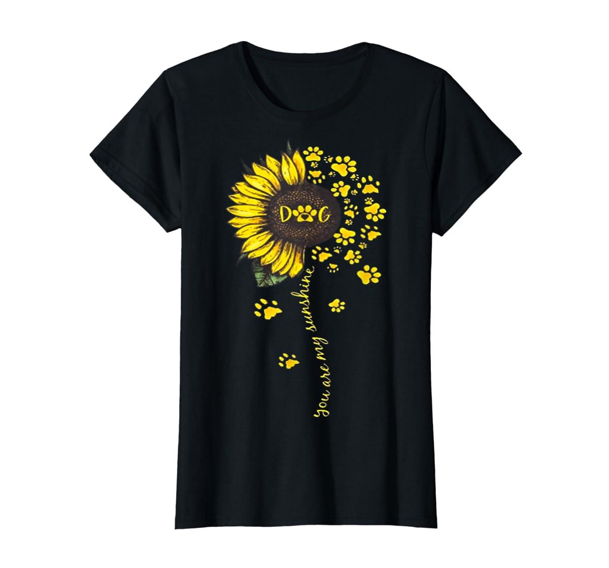 You Are My Sunshine Dog Tshirt-Women's T-Shirt-Black