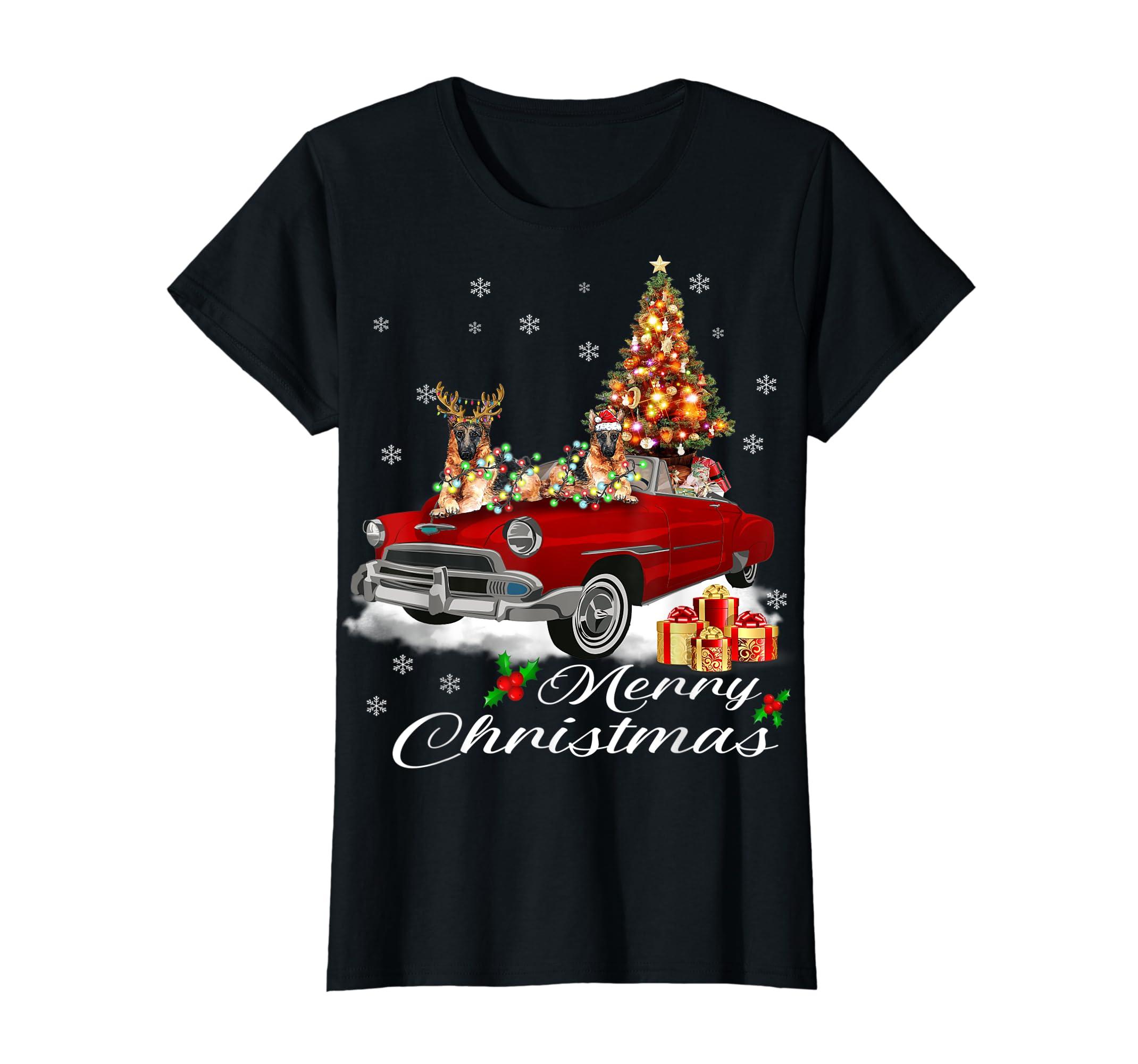 German Shepherd on Red Truck Christmas Pajama Dog Lover Gift T-Shirt-Women's T-Shirt-Black