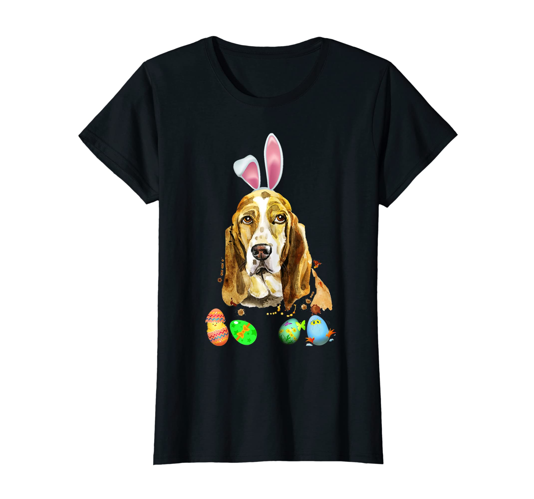 c0ec5653 Amazon.com: Cute Easter Basset Hound Bunny Ears & Eggs T Shirt Kids:  Clothing