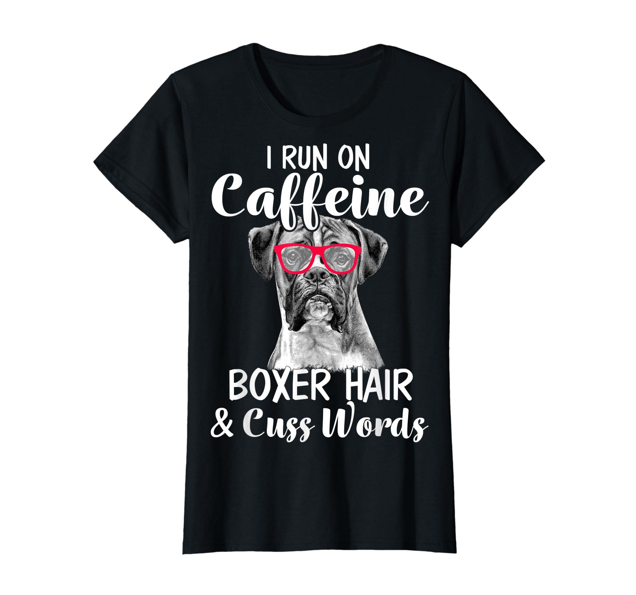 I Run On Caffeine Boxer Hair Mom Tshirt, Mothers Day Shirt-Women's T-Shirt-Black