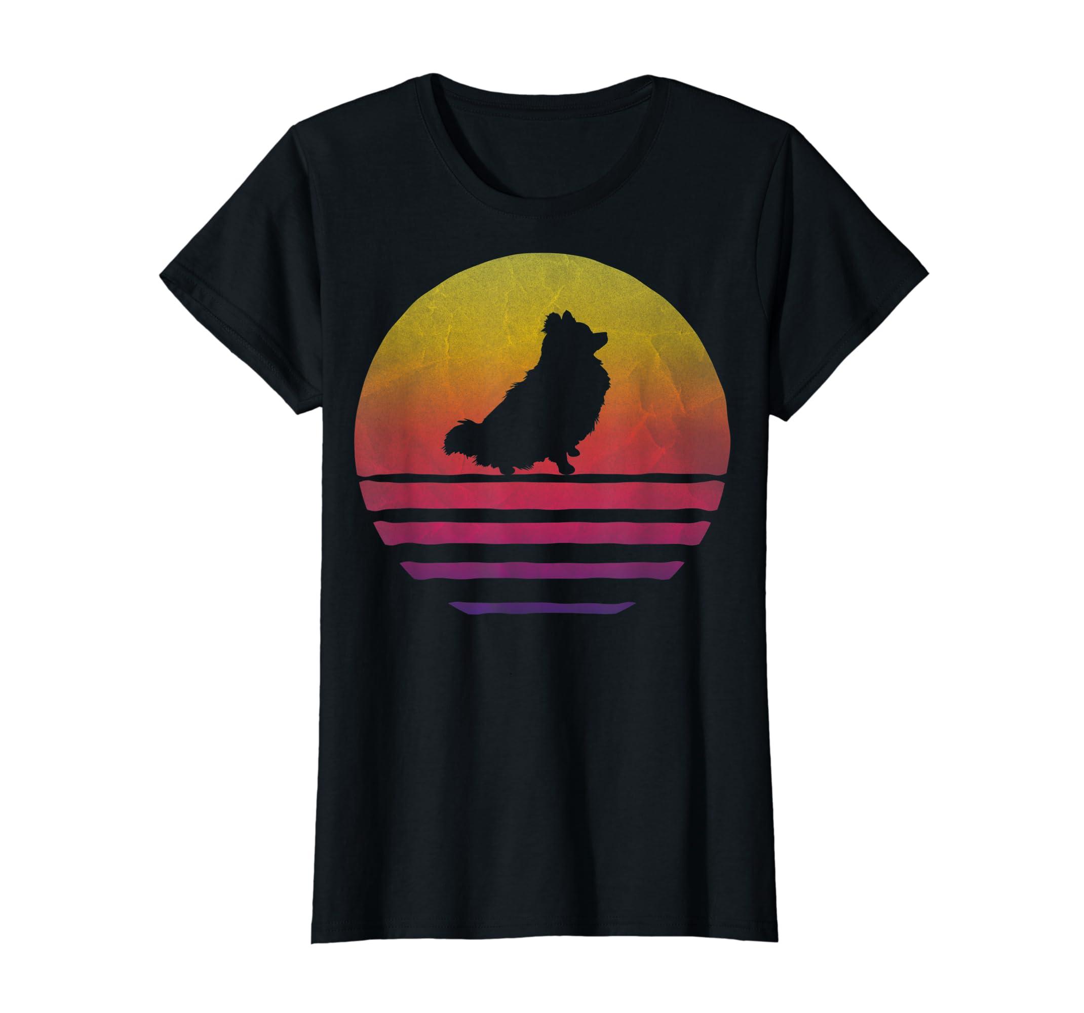 Retro Vintage Sunset Pomeranian Dog Lover Silhouette Gift T-Shirt-Women's T-Shirt-Black