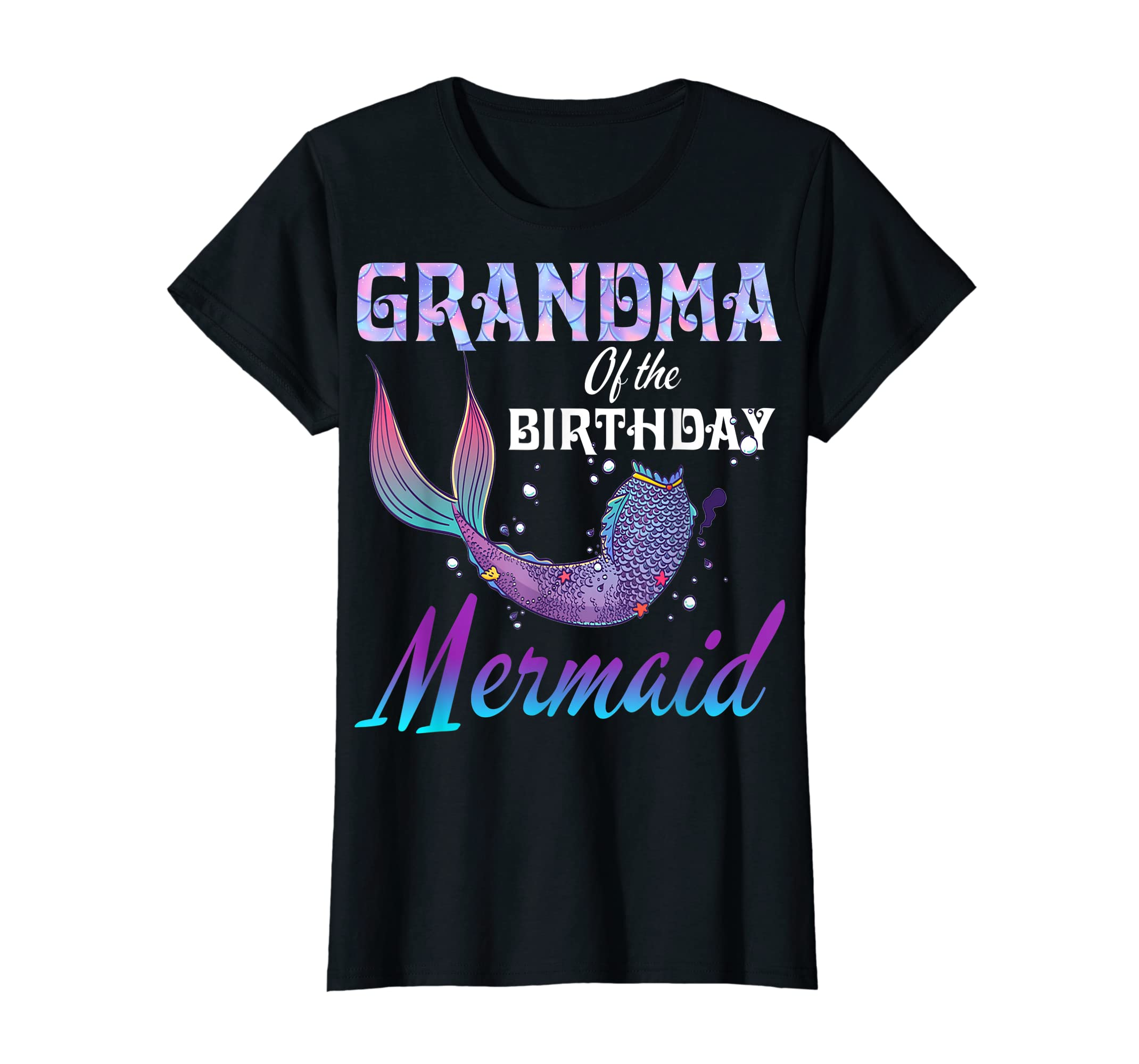 Grandma of The Birthday Mermaid Shirt Matching Party Outfits-Women's T-Shirt-Black