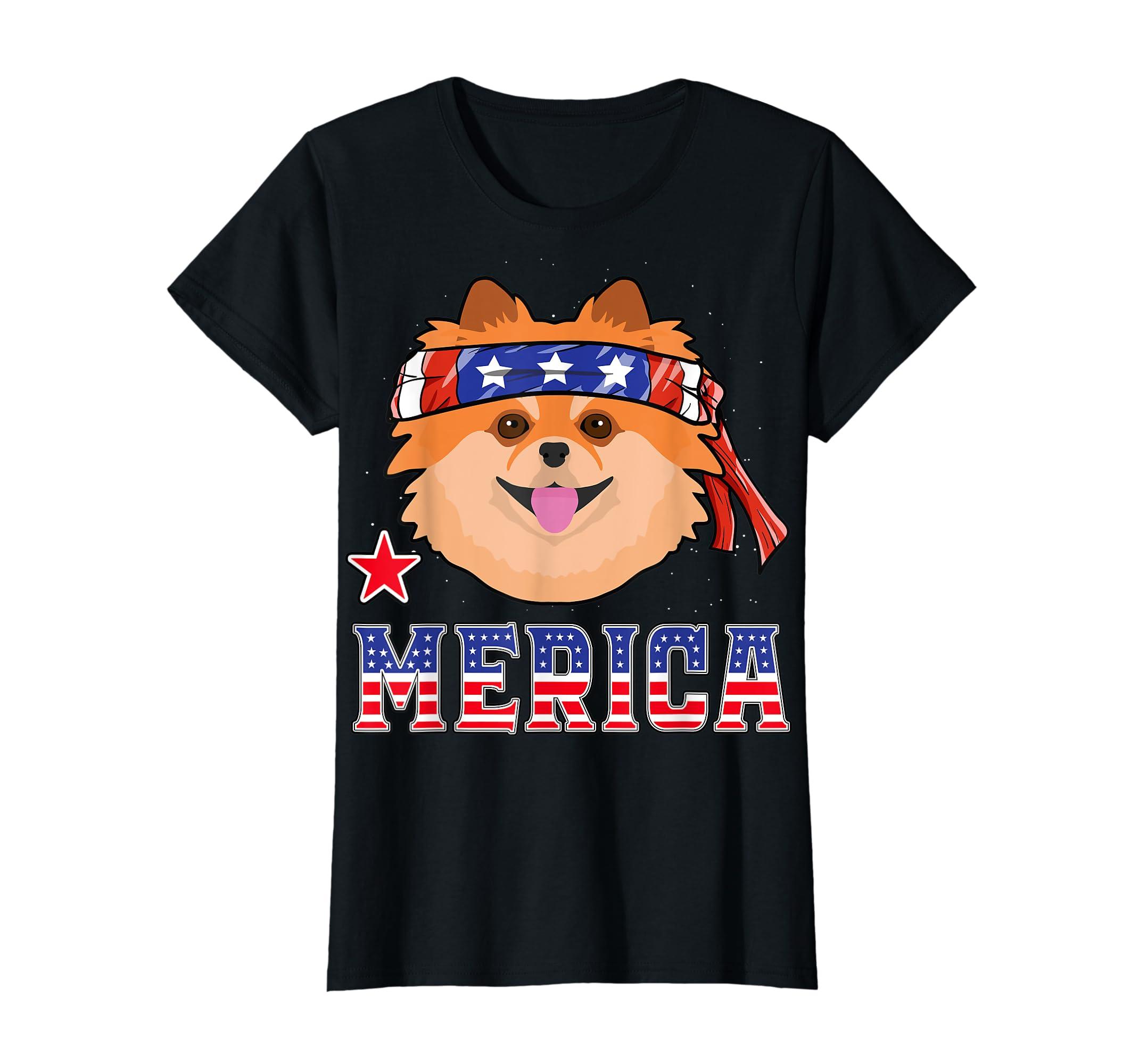Pomeranian Dog Patriotic American 4th Of July Gift Dogs T-Shirt-Women's T-Shirt-Black