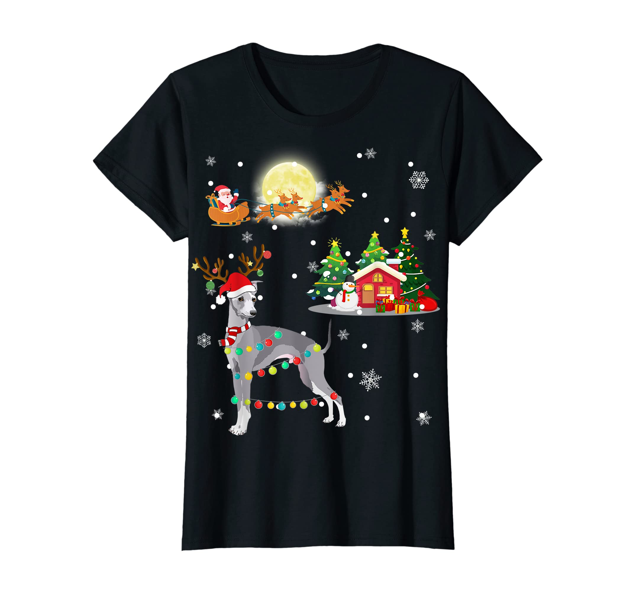 Greyhound Dog Led Light Christmas 2019 Gift T-Shirt-Women's T-Shirt-Black