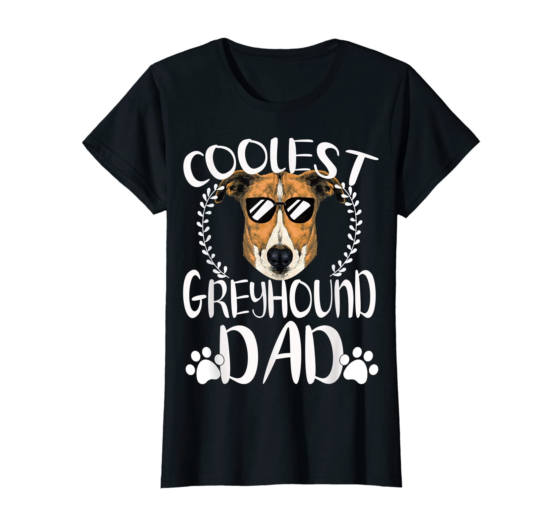 Glasses Coolest Greyhound Dog Dad T-Shirt Father's Day Gifts-Women's T-Shirt-Black