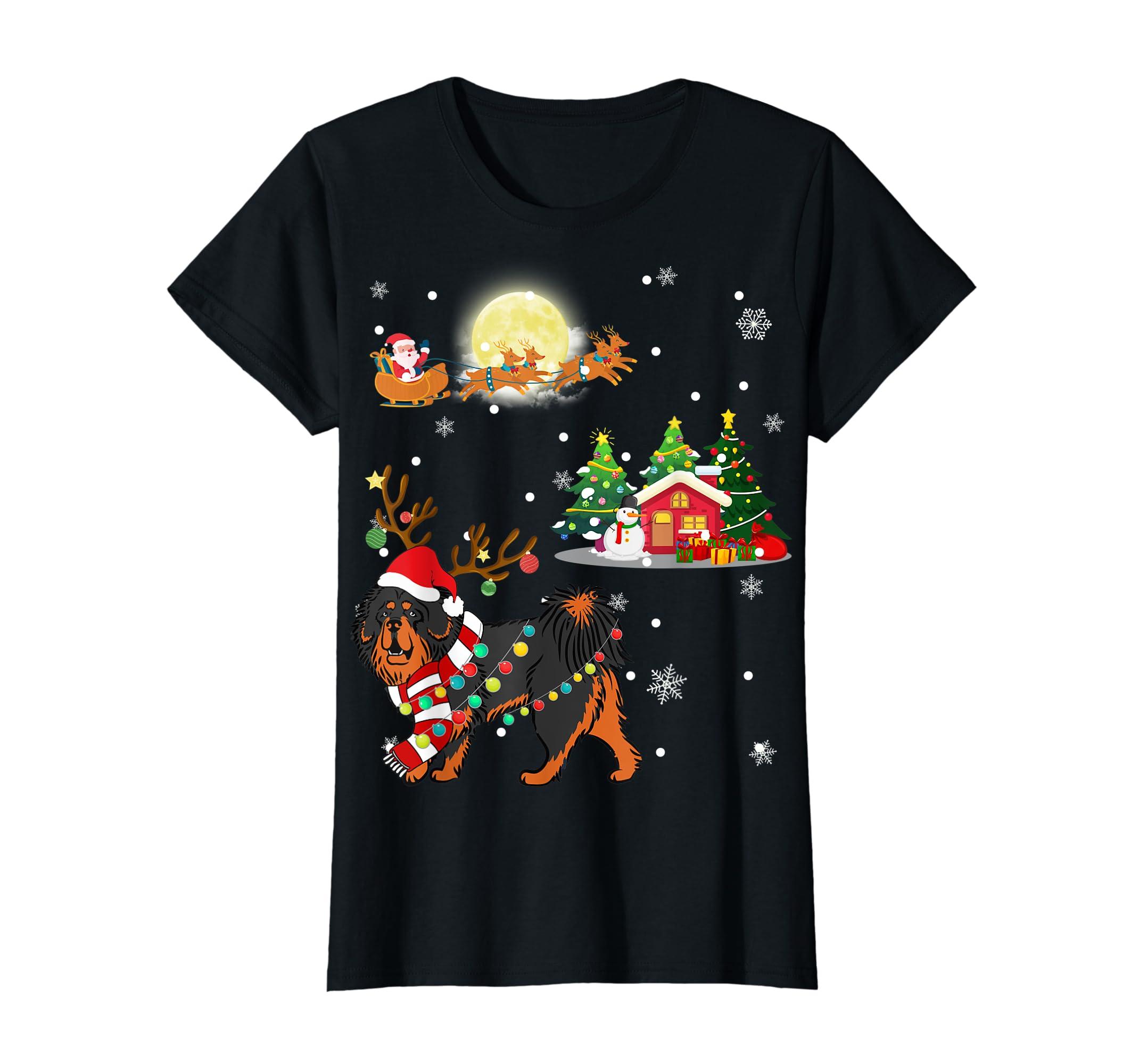 Tibetan Mastiff Dog Led Light Christmas 2019 Gift T-Shirt-Women's T-Shirt-Black