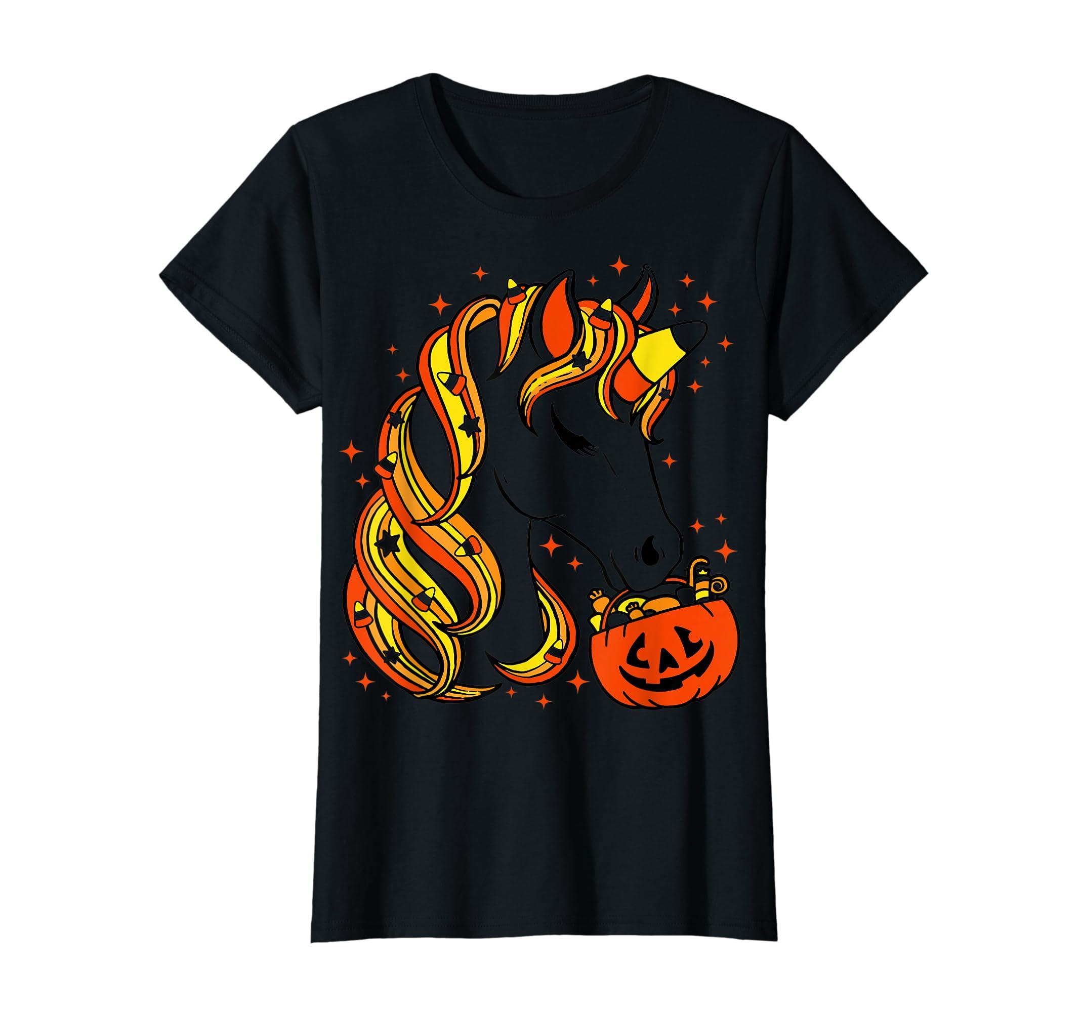 Cute Candy Corn Unicorn Halloween Top T-Shirt-Women's T-Shirt-Black