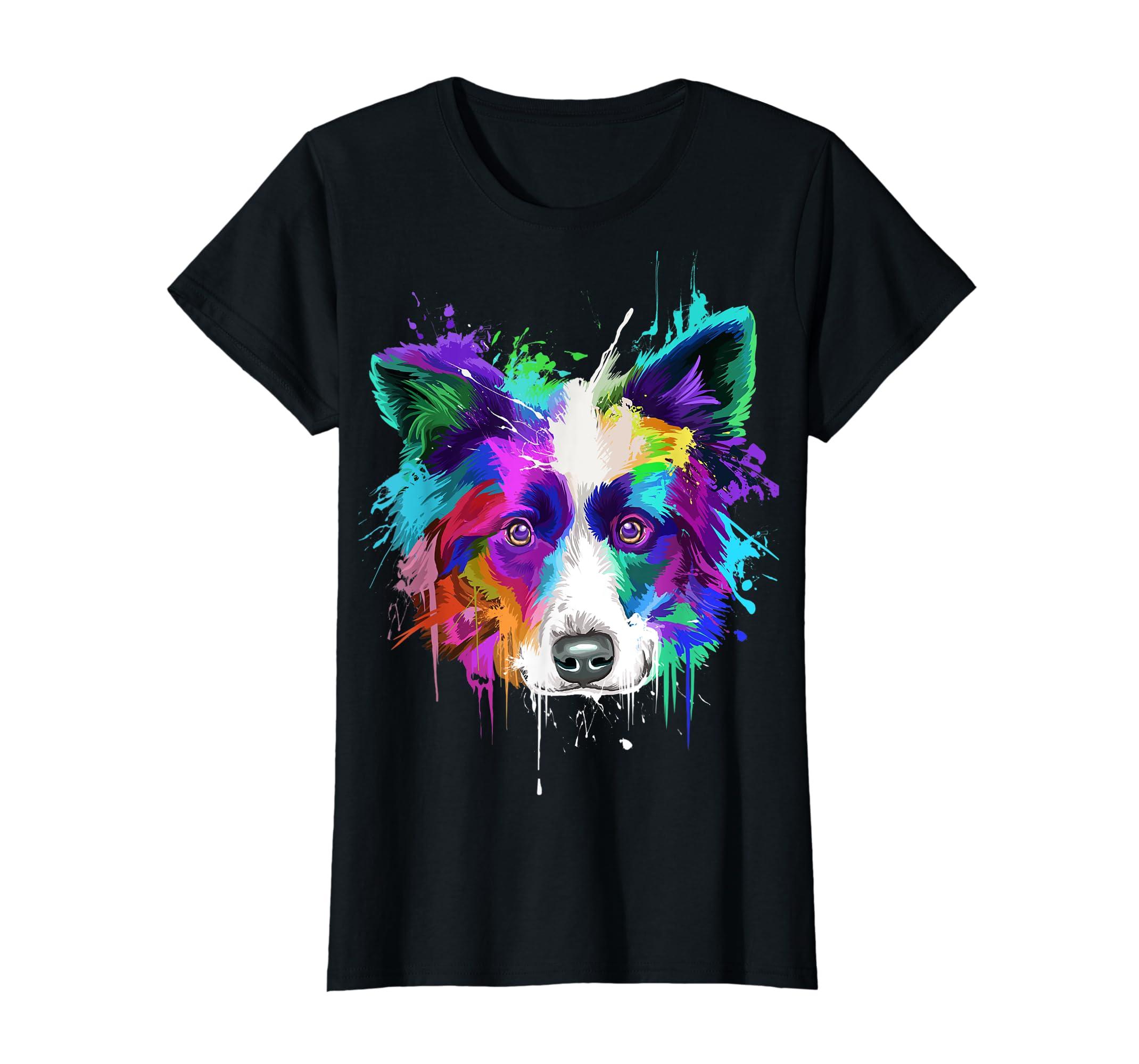 Splash Art Border Collie T-Shirt | Border Collie Owners Gift-Women's T-Shirt-Black