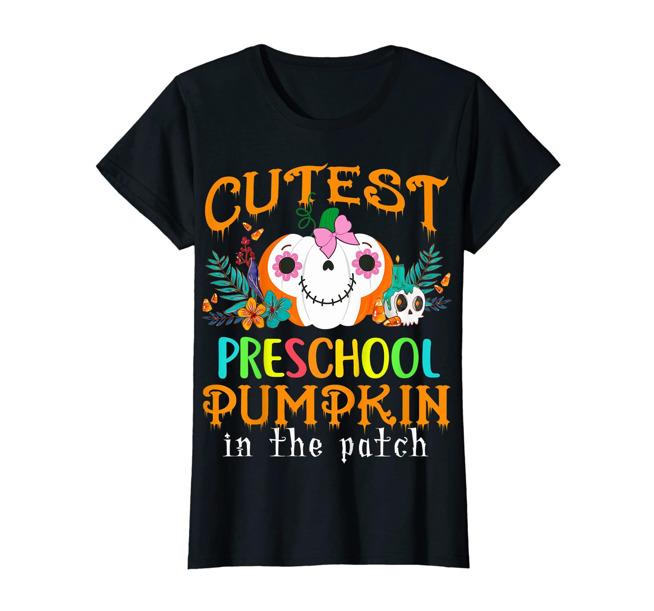 Kids Cutest Preschool Pumpkin In The Patch Halloween Costume Girl T-Shirt-Women's T-Shirt-Black