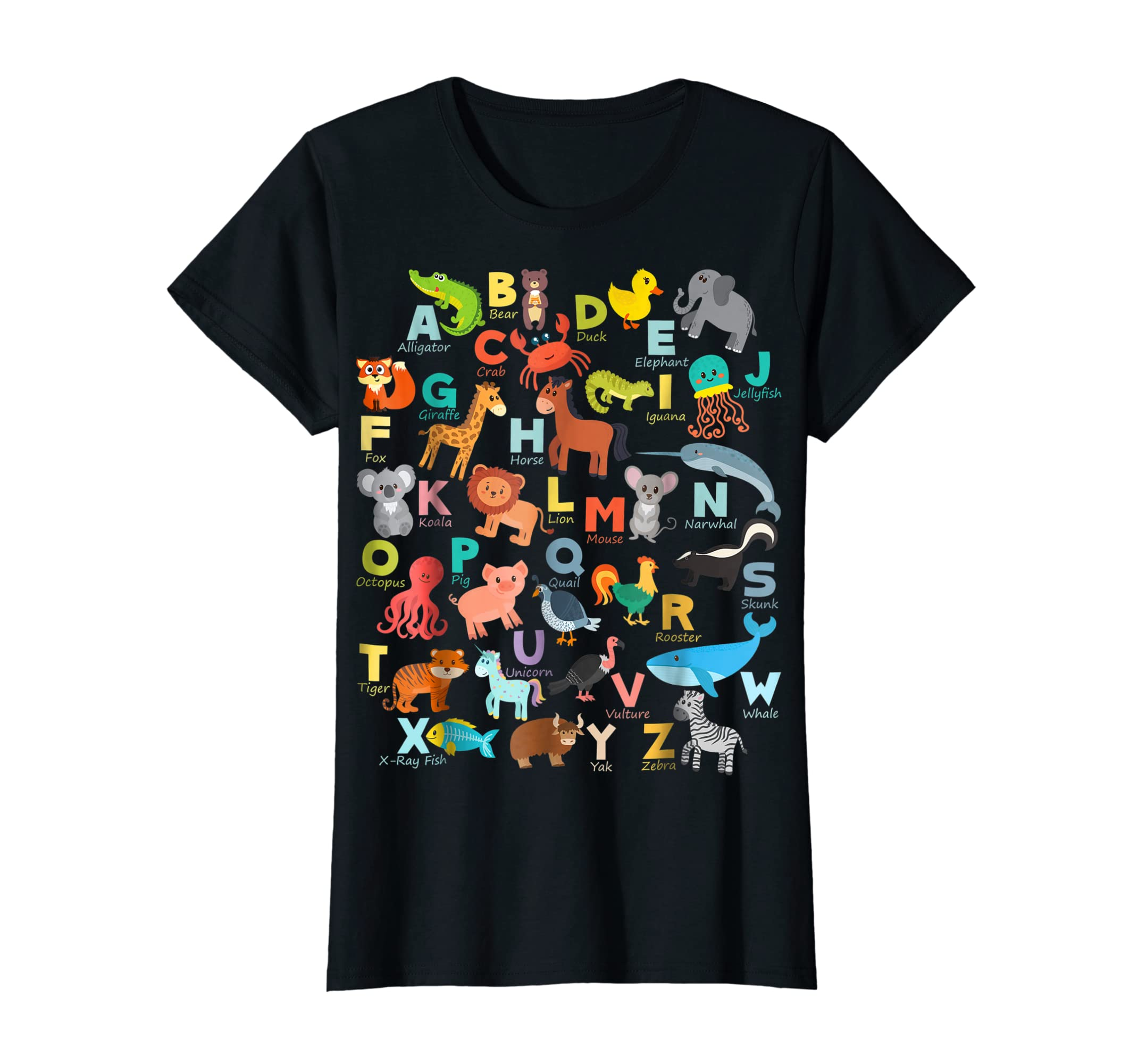 Alphabet Animal ABCs Learning Shirt for boys, girls, adults-Women's T-Shirt-Black