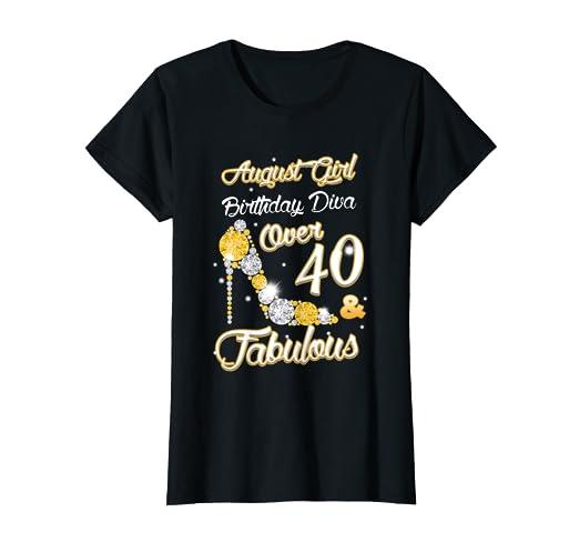 a6399919 Amazon.com: Womens August Girl Birthday Diva Over 40 Diamond Bling T ...