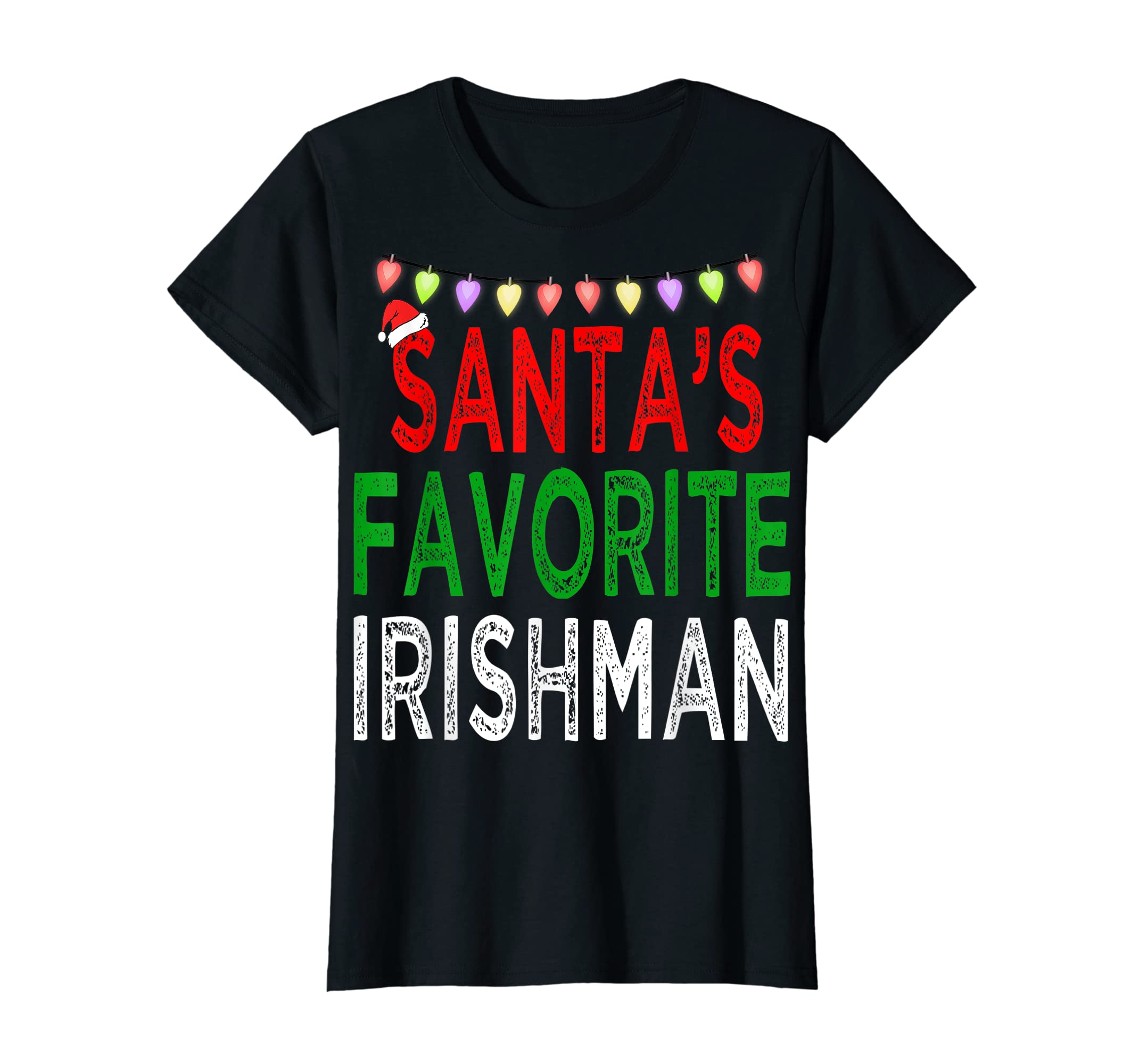 Santa's Favorite Irishman Christmas Xmas Lights Hat Gift T-Shirt-Women's T-Shirt-Black