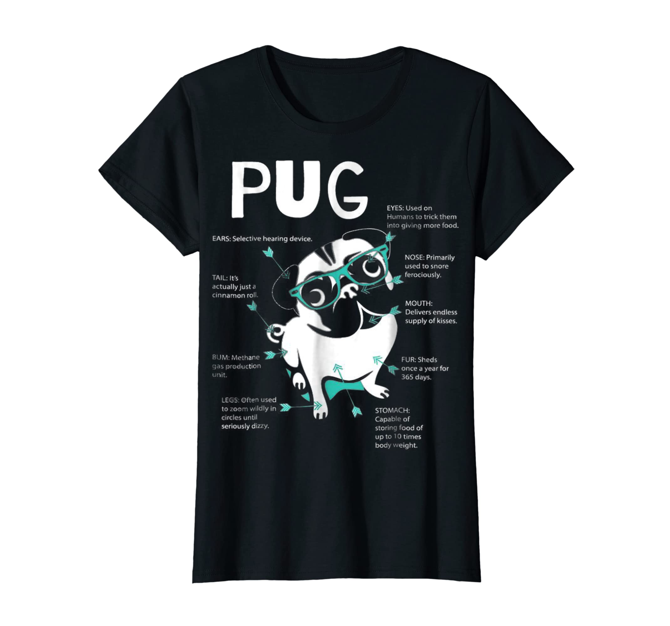 Anatomy Of A Pug Tshirt-Women's T-Shirt-Black