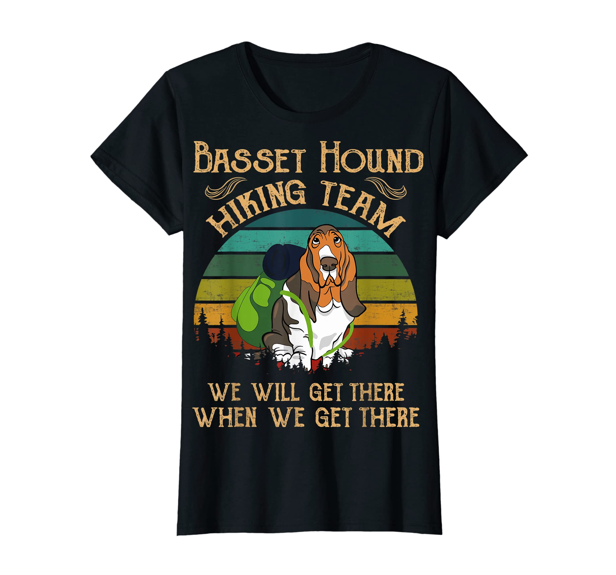 Basset Hound Hiking Team We Will Get There Vintage T-shirt-Women's T-Shirt-Black
